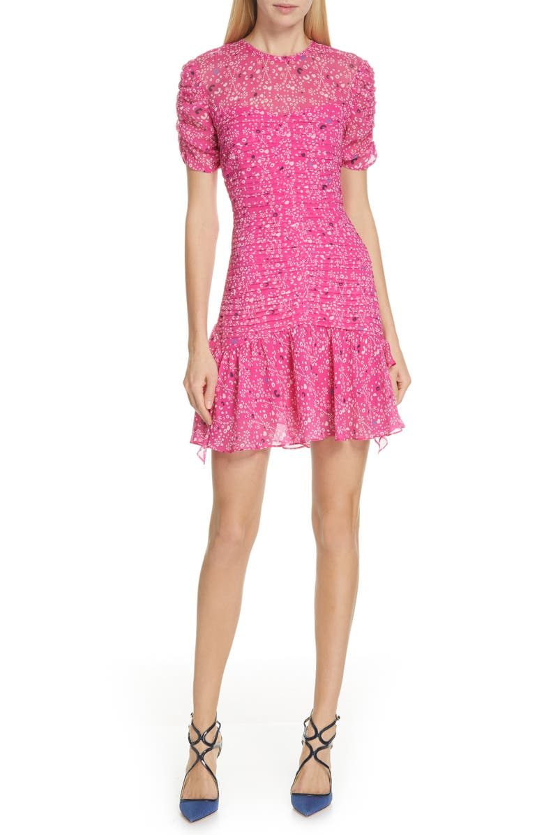 Tanya Taylor Dresses CARTI PINTUCK SILK CHIFFON DRESS