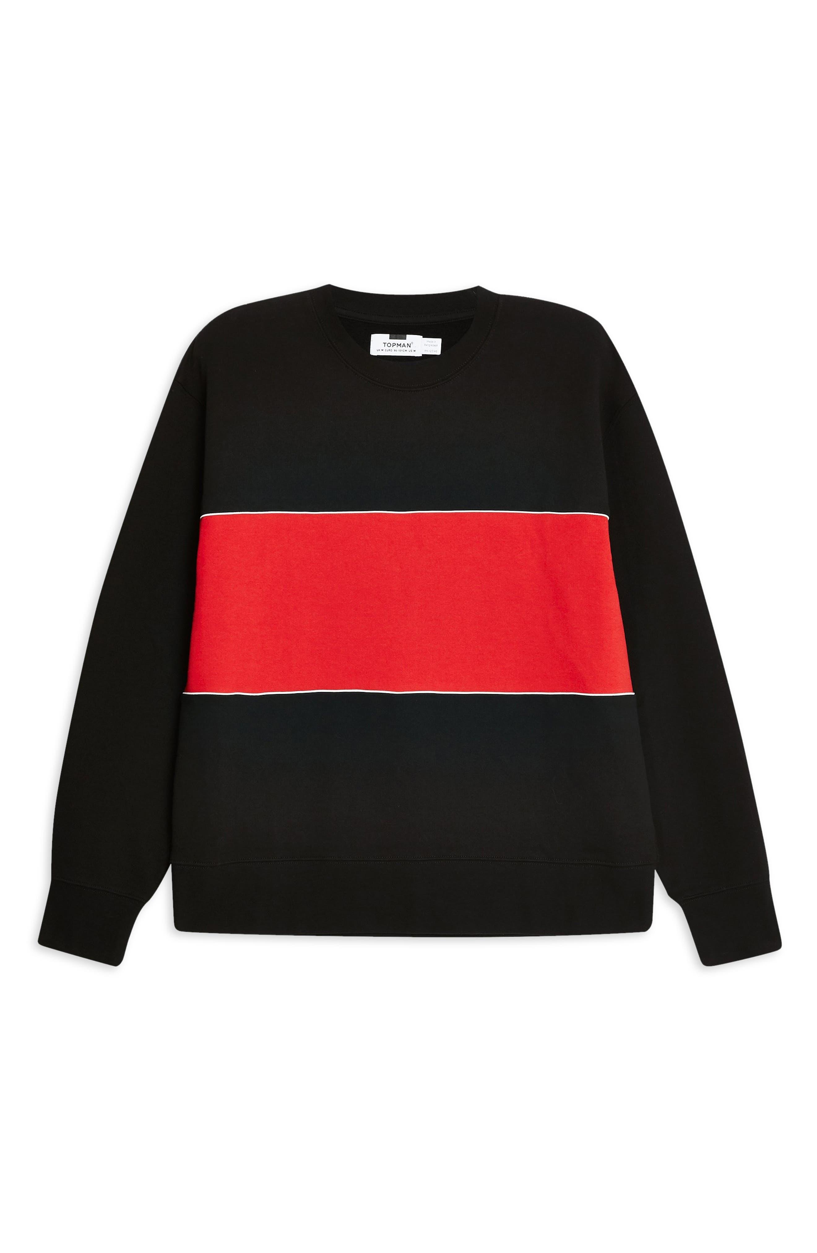 TOPMAN, Colorblock Longline Crewneck Sweatshirt, Alternate thumbnail 5, color, BLACK
