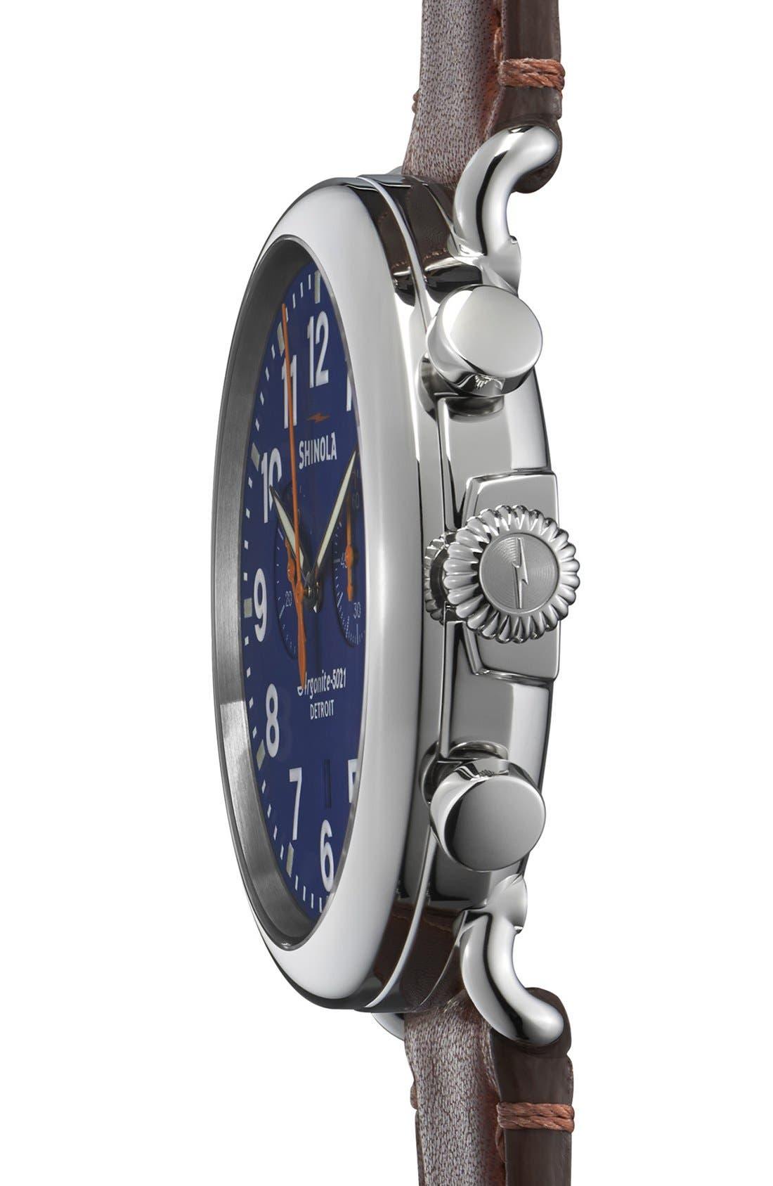 SHINOLA, The Runwell Chrono Leather Strap Watch, 47mm, Alternate thumbnail 4, color, DARK BROWN/ BLUE
