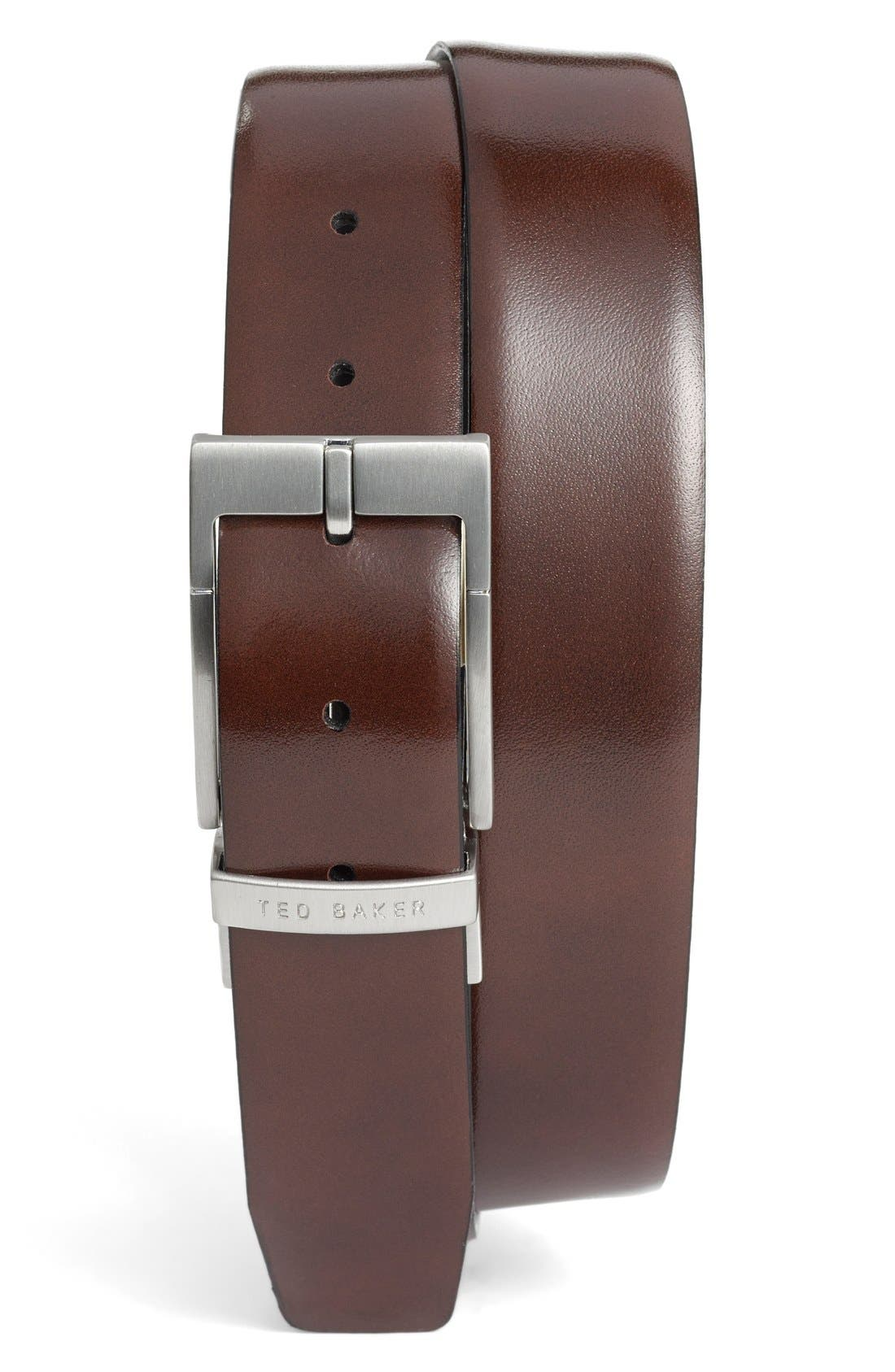 TED BAKER LONDON, Reversible Leather Belt, Alternate thumbnail 3, color, BLACK/ DARK BROWN
