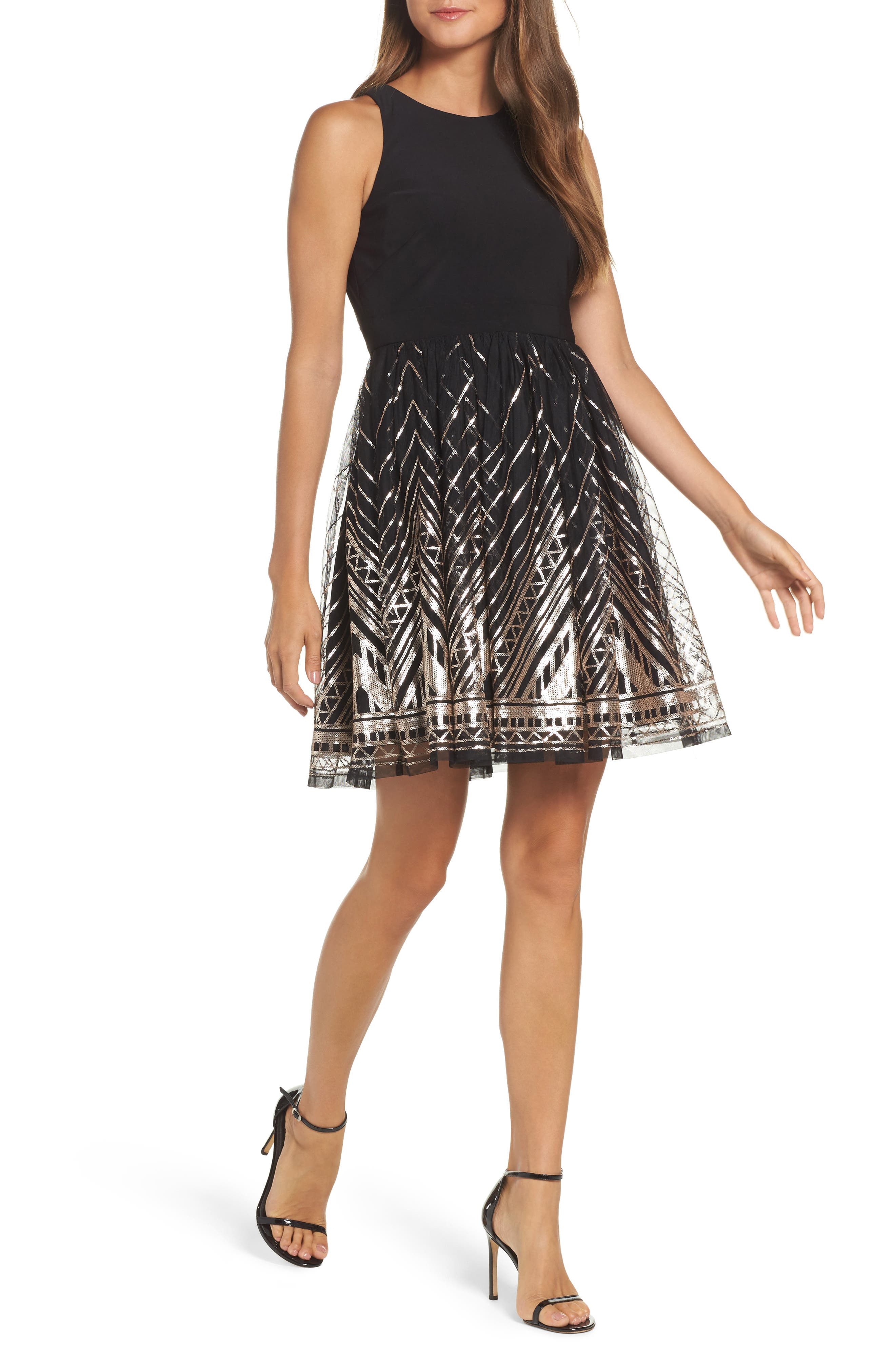 VINCE CAMUTO, Sequin Fit & Flare Cocktail Dress, Main thumbnail 1, color, BLACK/ GOLD