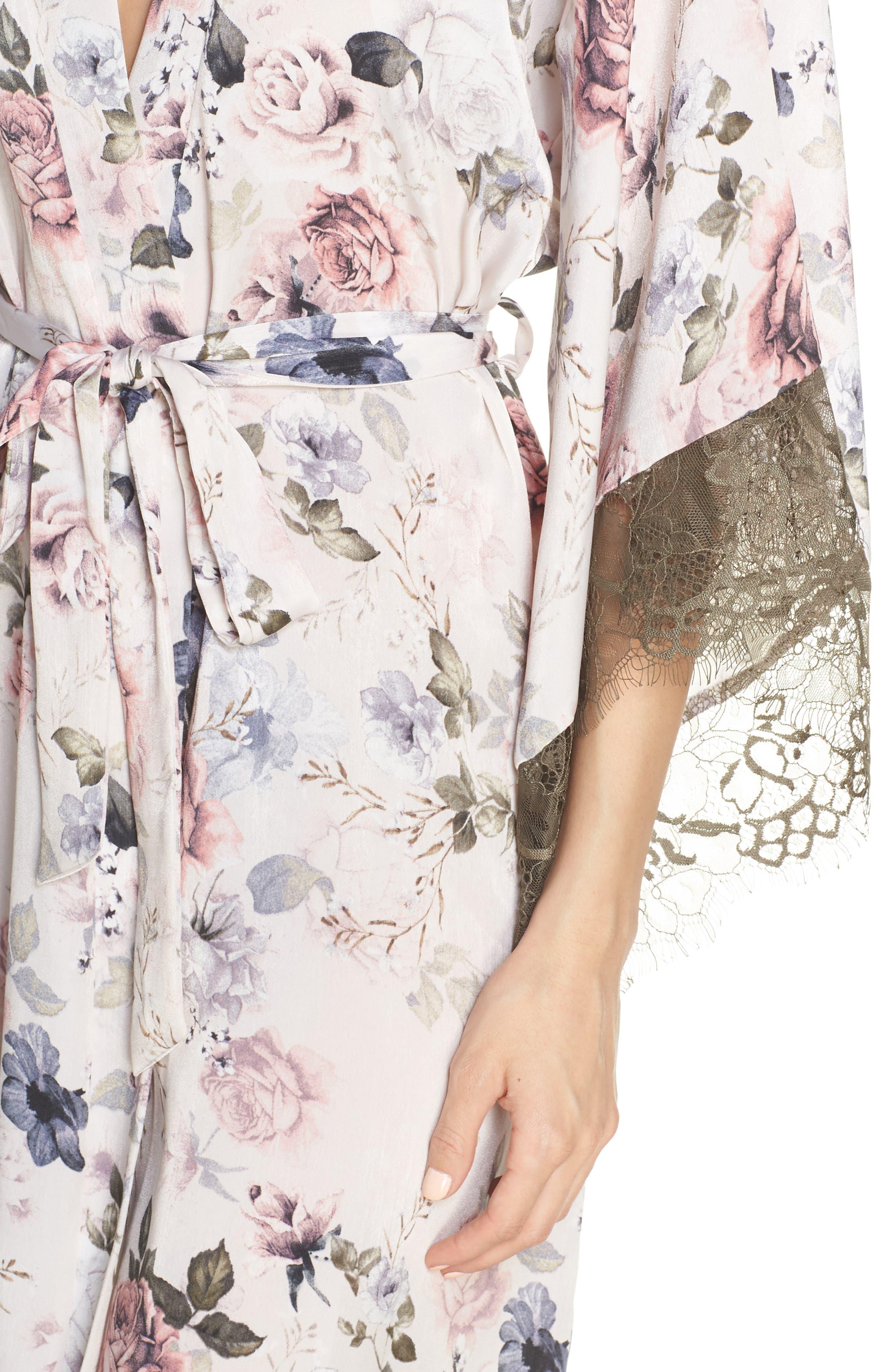 MIDNIGHT BAKERY, Satin Kimono Wrap, Alternate thumbnail 4, color, PRIMROSE PRINT