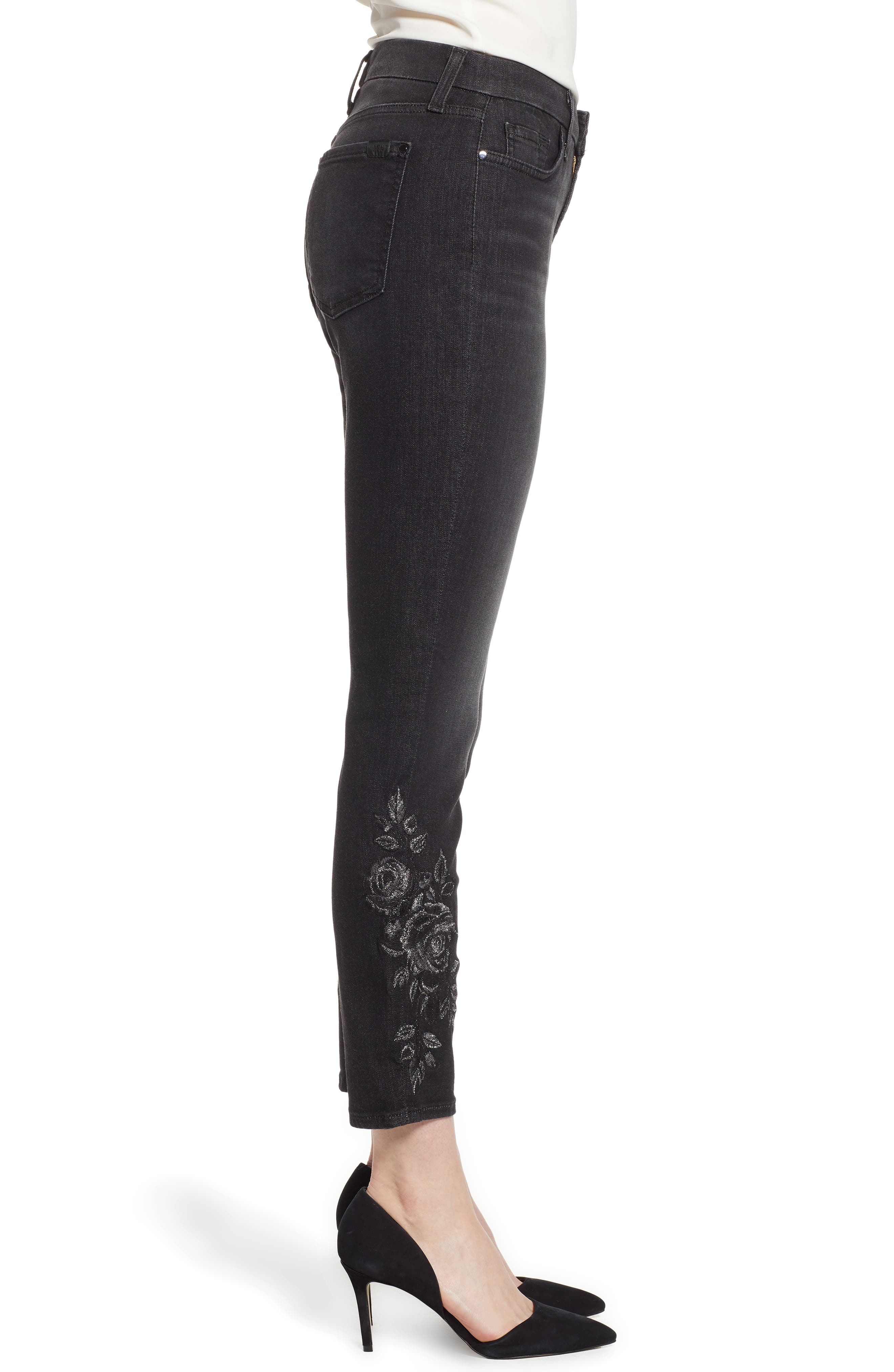 JEN7 BY 7 FOR ALL MANKIND, Embroidered Ankle Skinny Jeans, Alternate thumbnail 4, color, RICHE TOUCH AGED BLACK