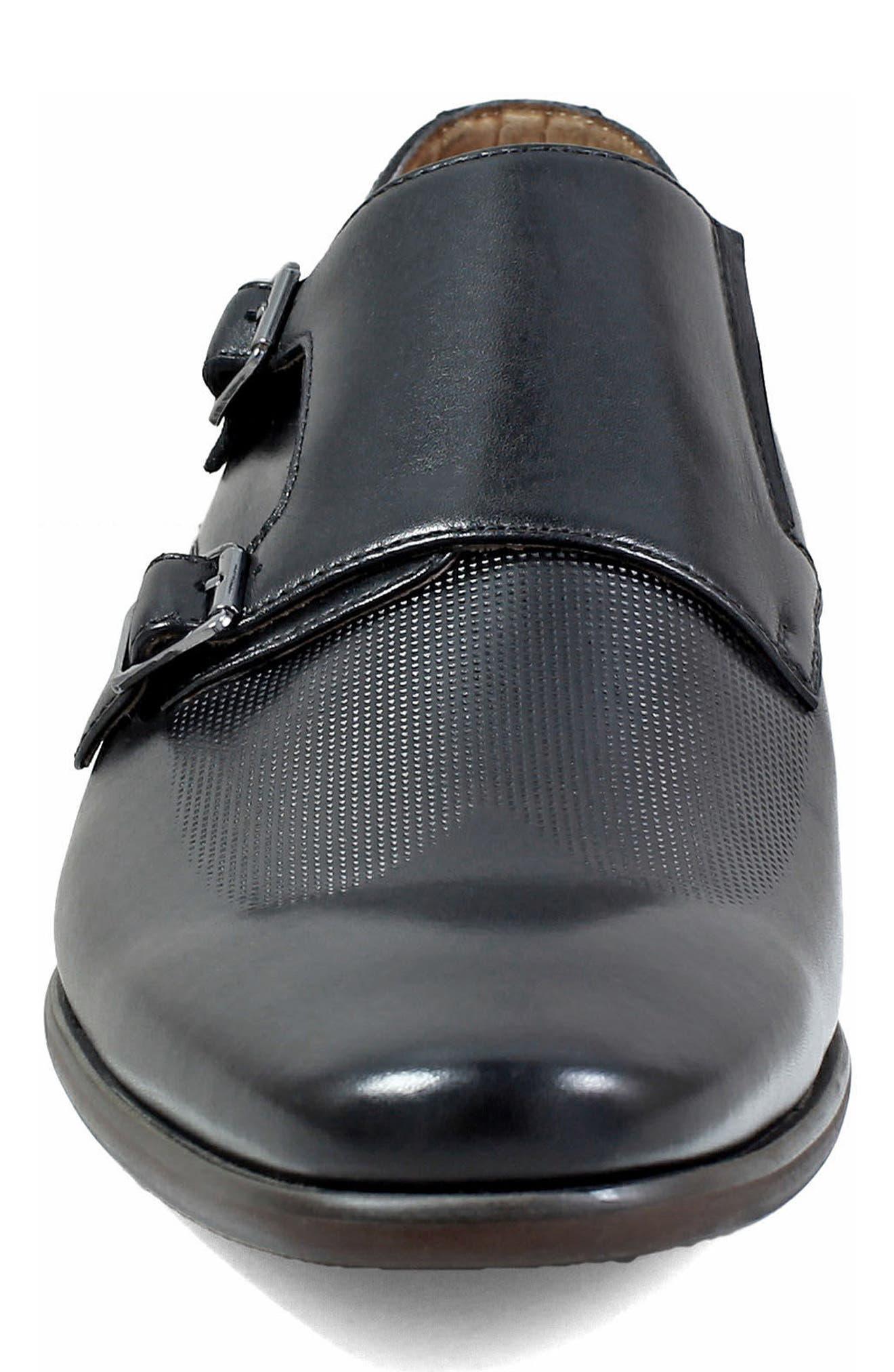 FLORSHEIM, Postino Textured Double Strap Monk Shoe, Alternate thumbnail 4, color, BLACK LEATHER