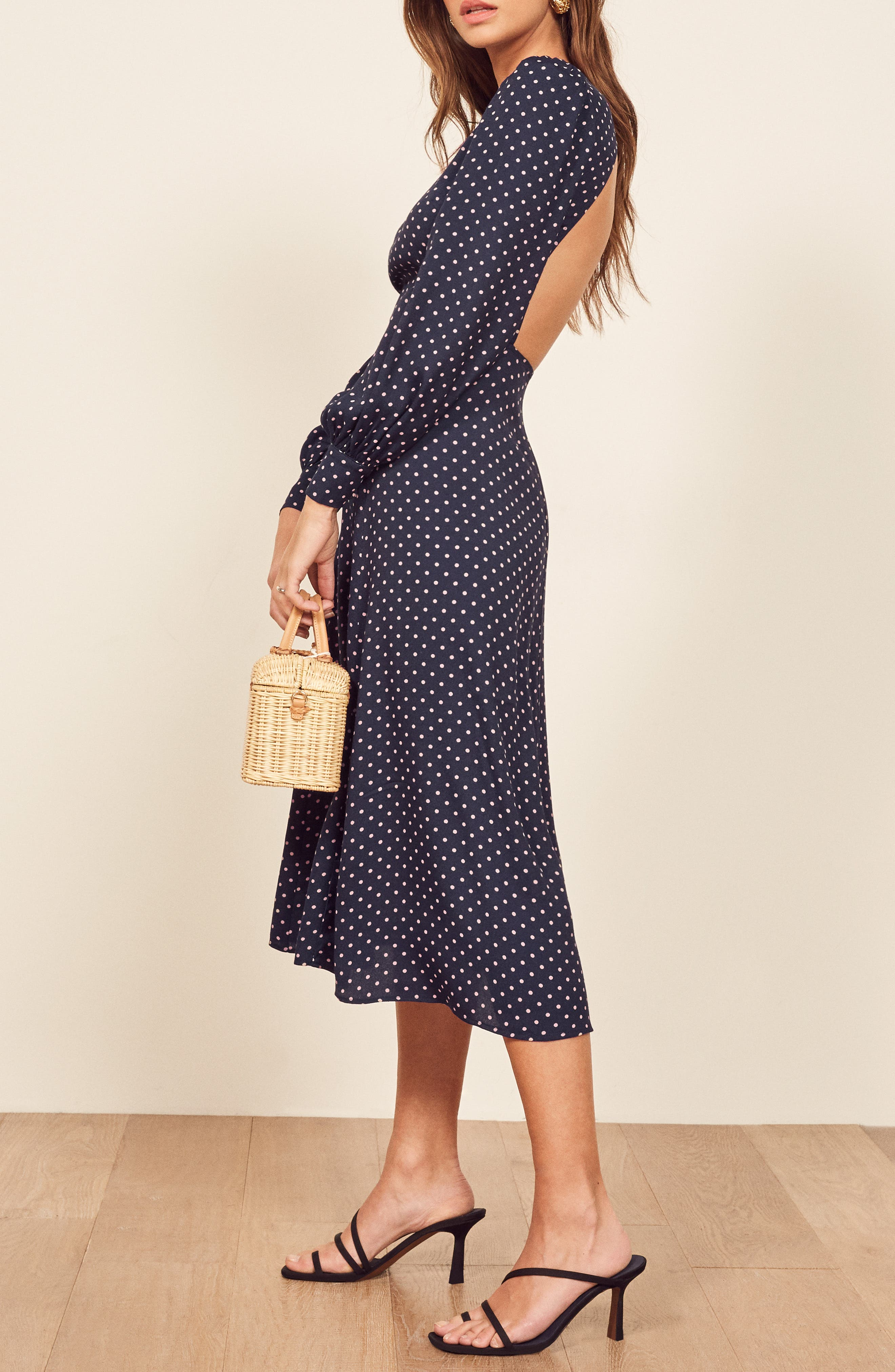 REFORMATION, Abigaile Long Sleeve Dress, Alternate thumbnail 5, color, AFTERNOON