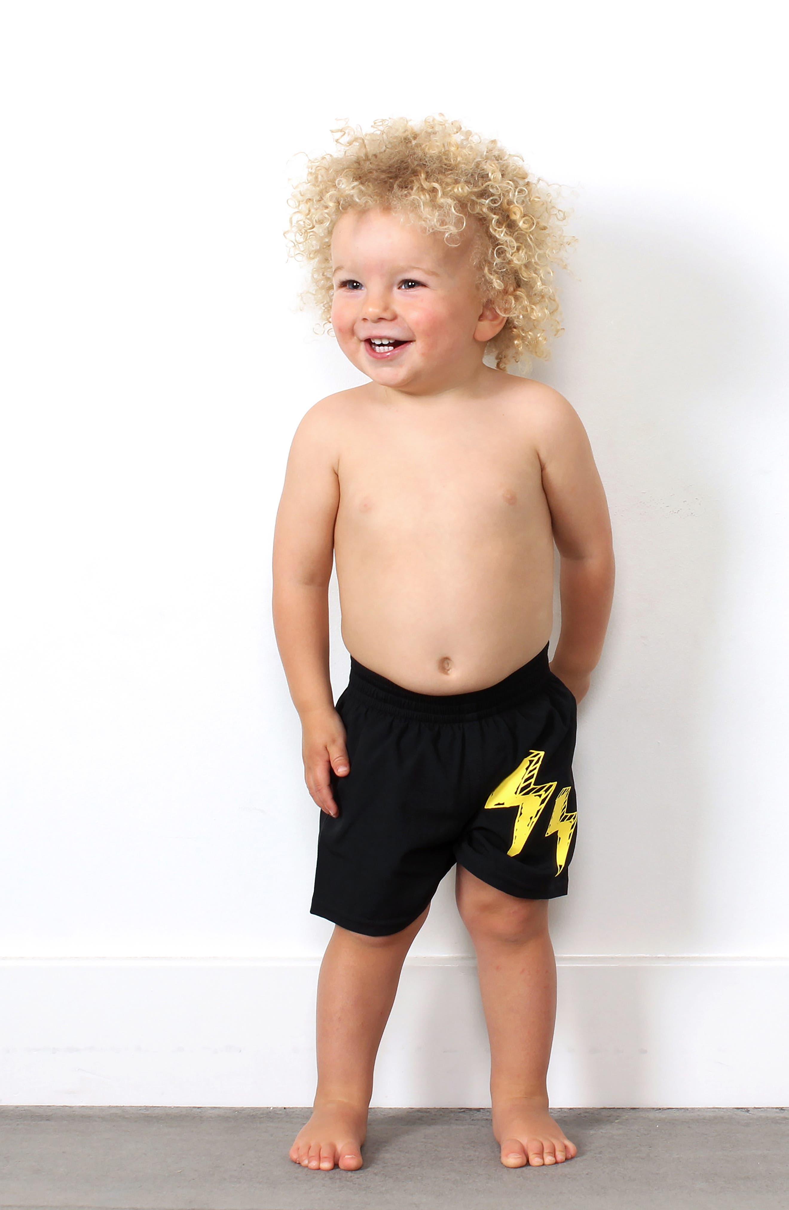 TINY TRIBE, Lightning Board Shorts, Alternate thumbnail 3, color, BLACK