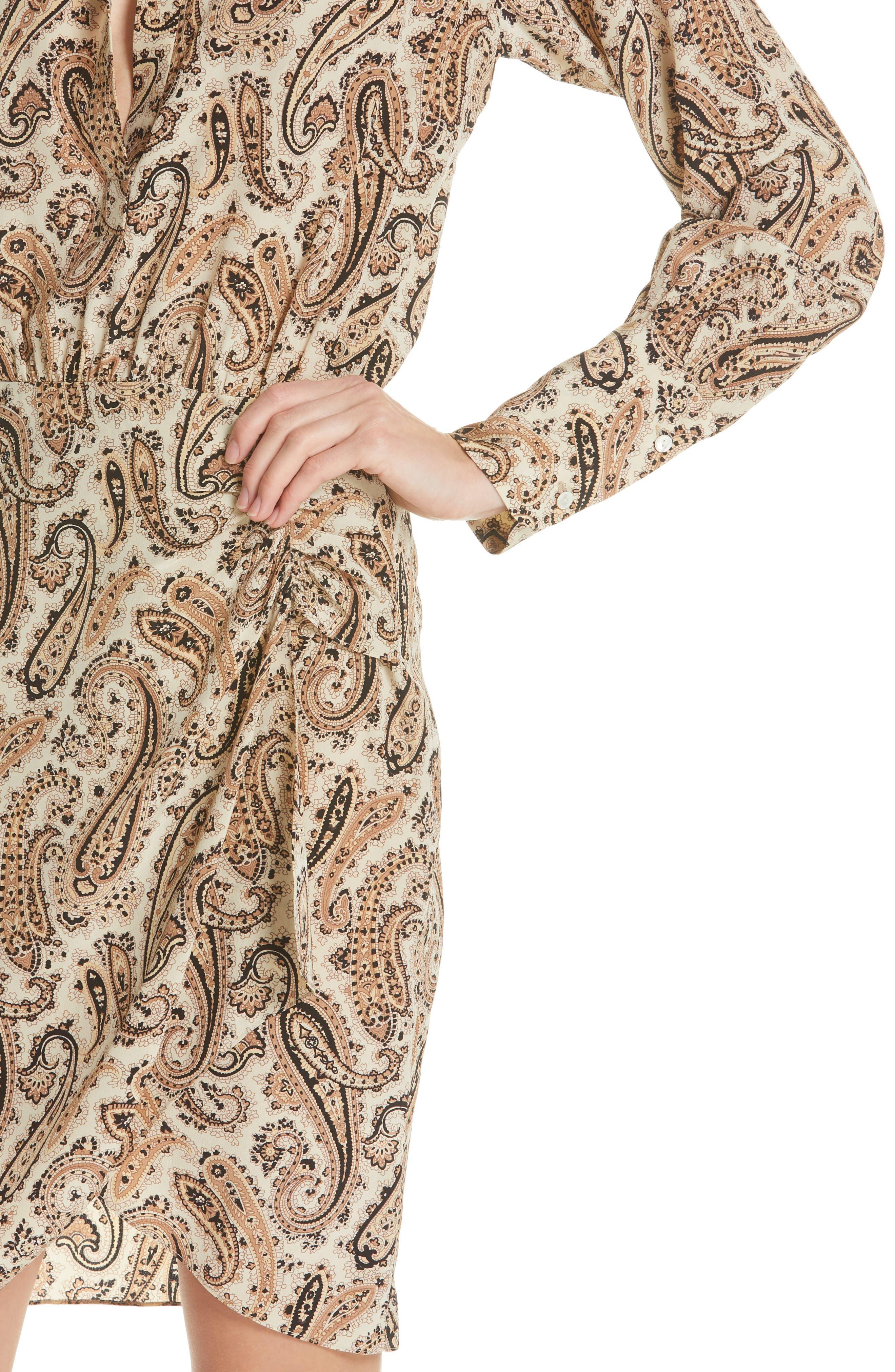 NILI LOTAN, Paisley Silk Shirtdress, Alternate thumbnail 5, color, BLACK AND BEIGE PAISLE