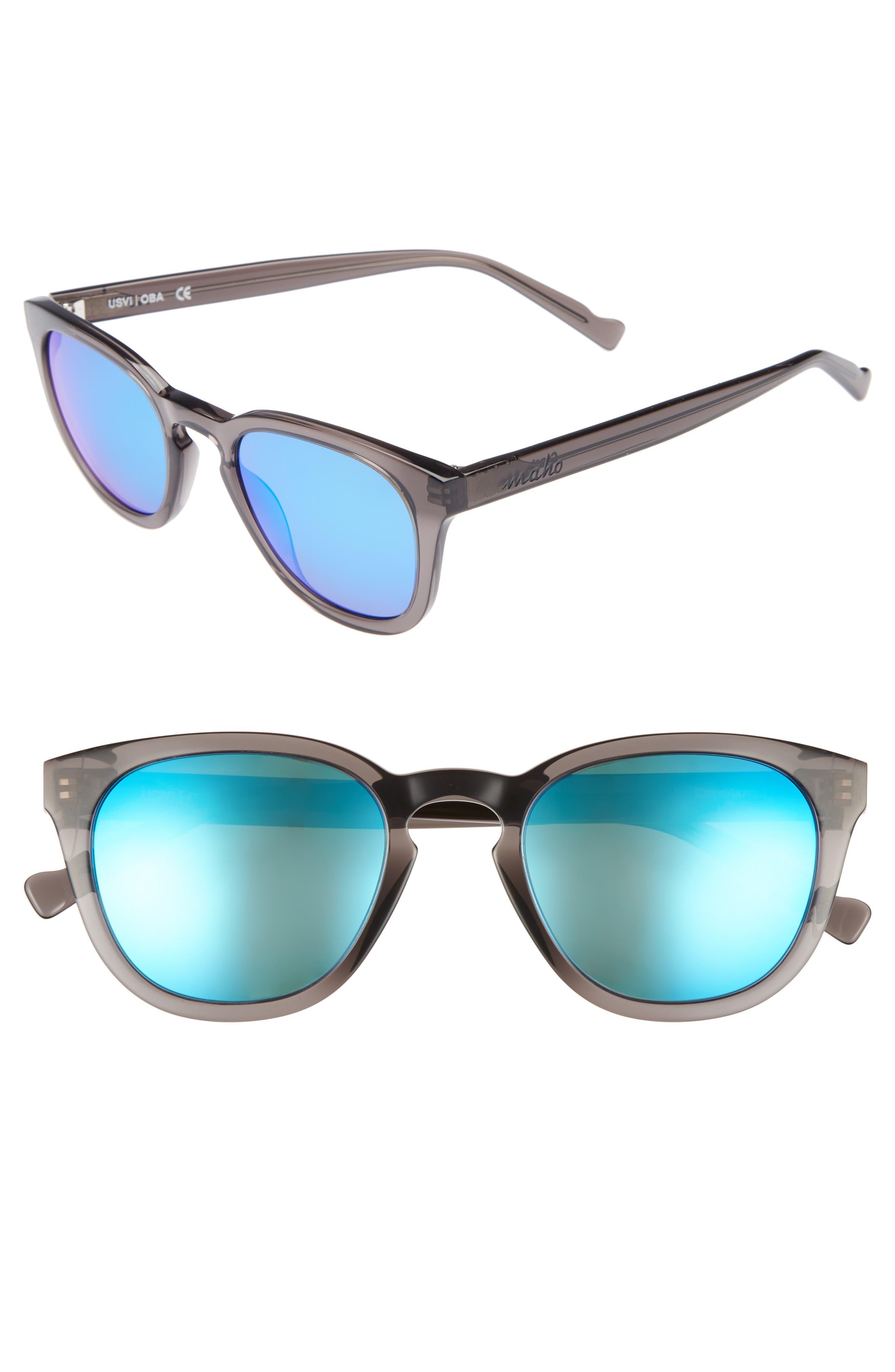MAHO, Capetown 50mm Polarized Round Sunglasses, Main thumbnail 1, color, SLATE