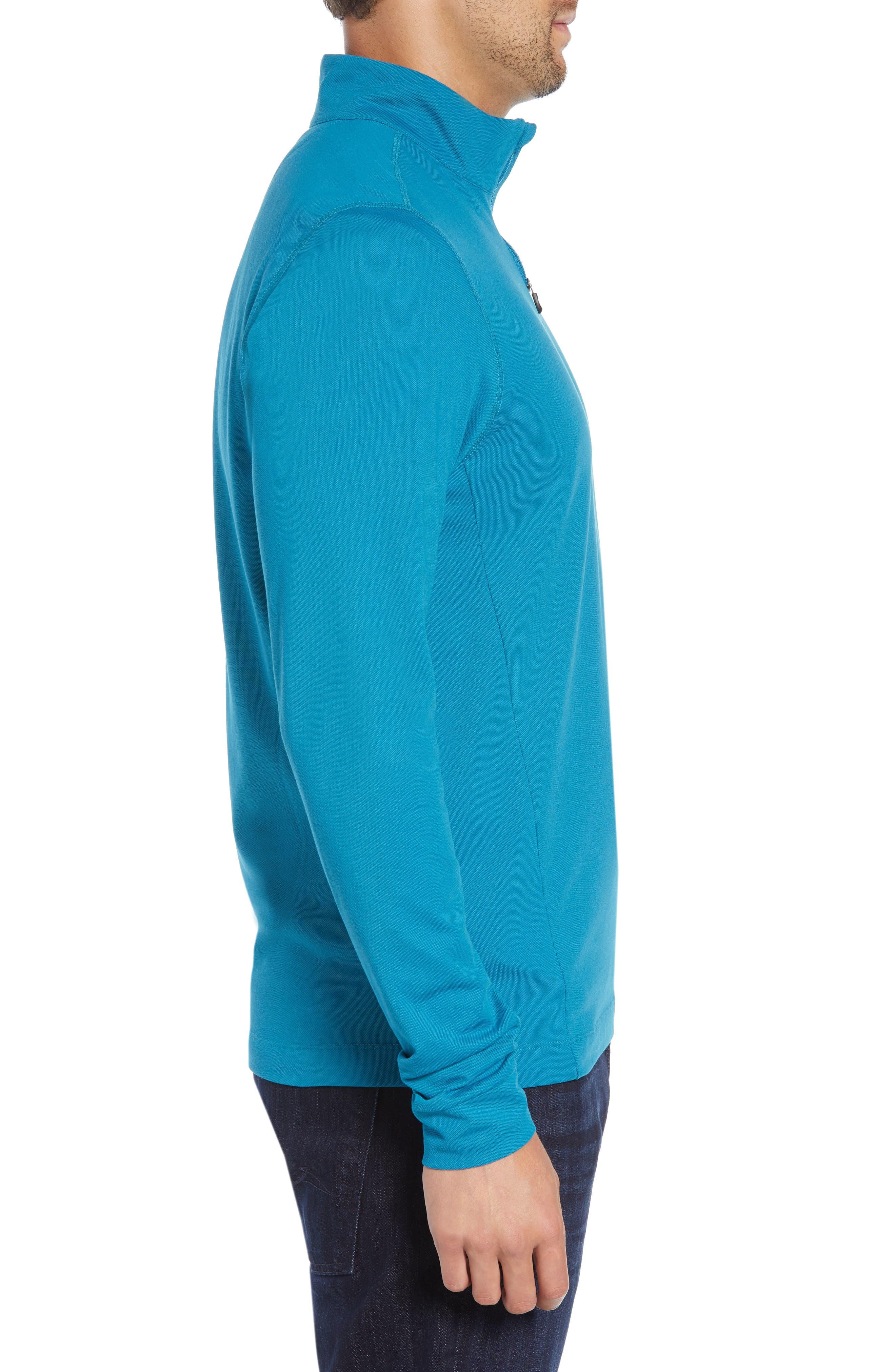 CUTTER & BUCK, Advantage Regular Fit DryTec Mock Neck Pullover, Alternate thumbnail 3, color, TEAL BLUE