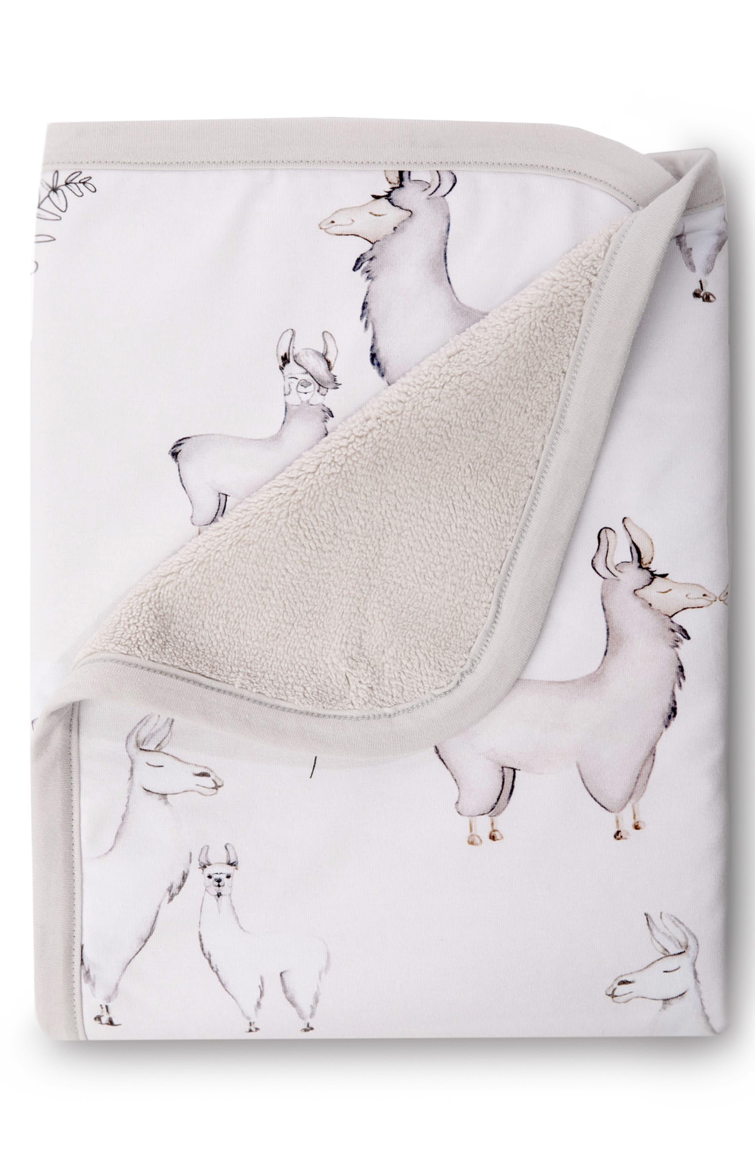 OILO, Llama Cuddle Blanket, Crib Skirt & Crib Sheet Set, Alternate thumbnail 2, color, LLAMA