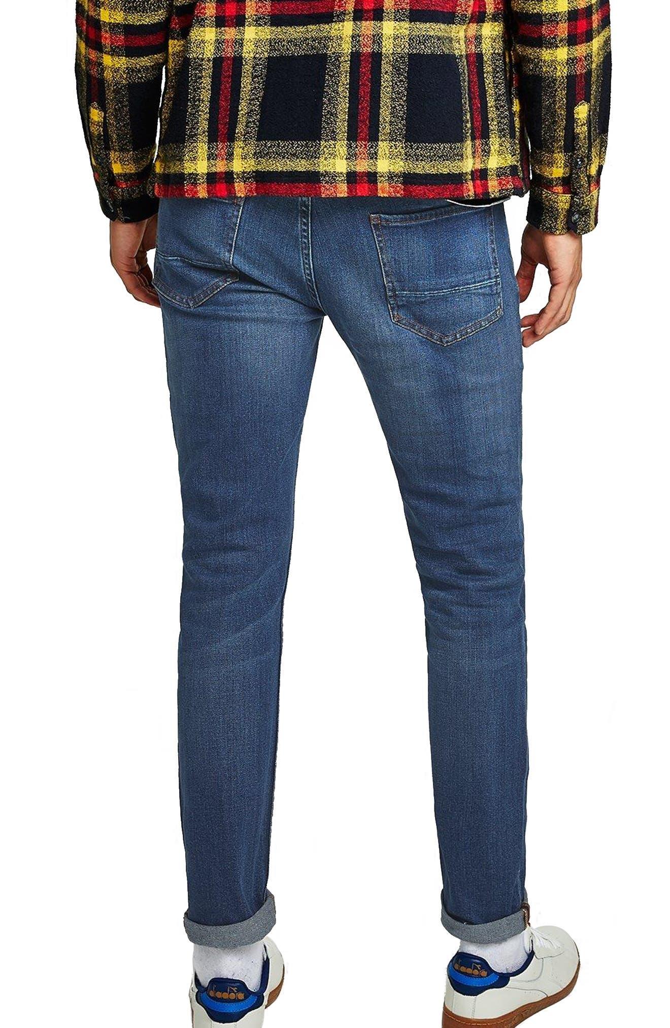 TOPMAN, Stretch Skinny Fit Jeans, Alternate thumbnail 2, color, BLUE