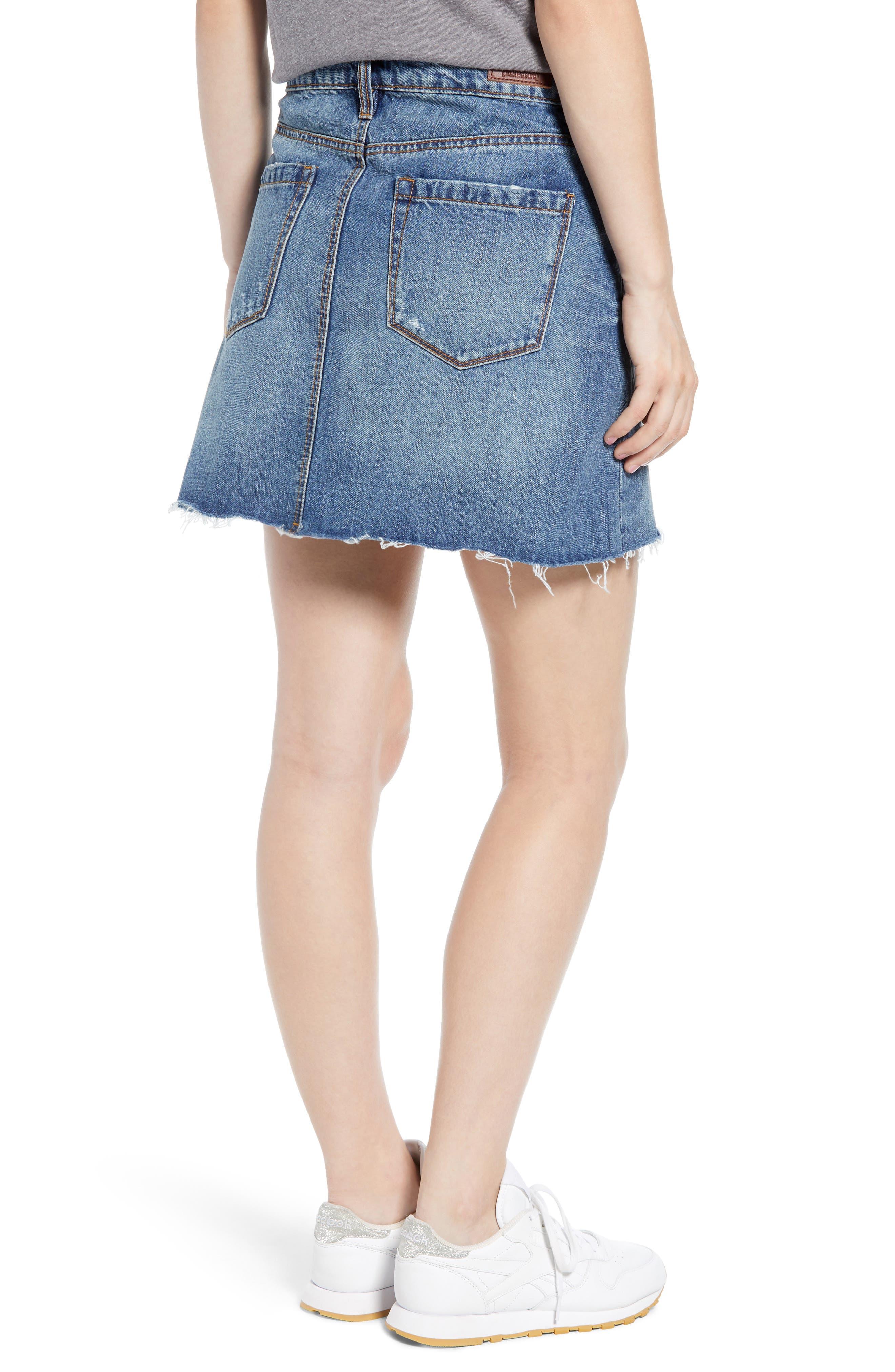 BLANKNYC, Way Back When Cutoff Denim Skirt, Alternate thumbnail 2, color, 400