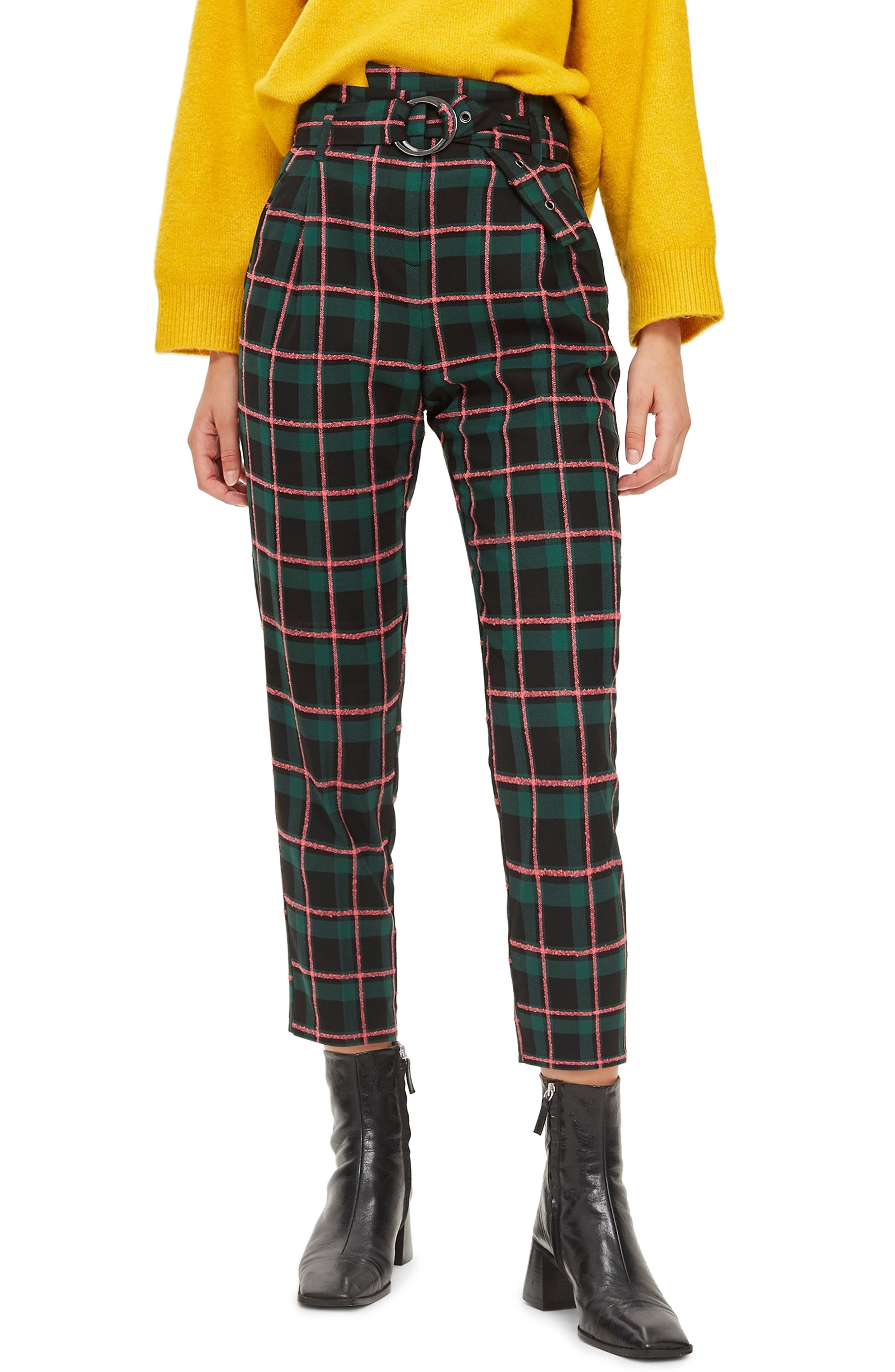TOPSHOP Punk Check Trousers, Main, color, 340