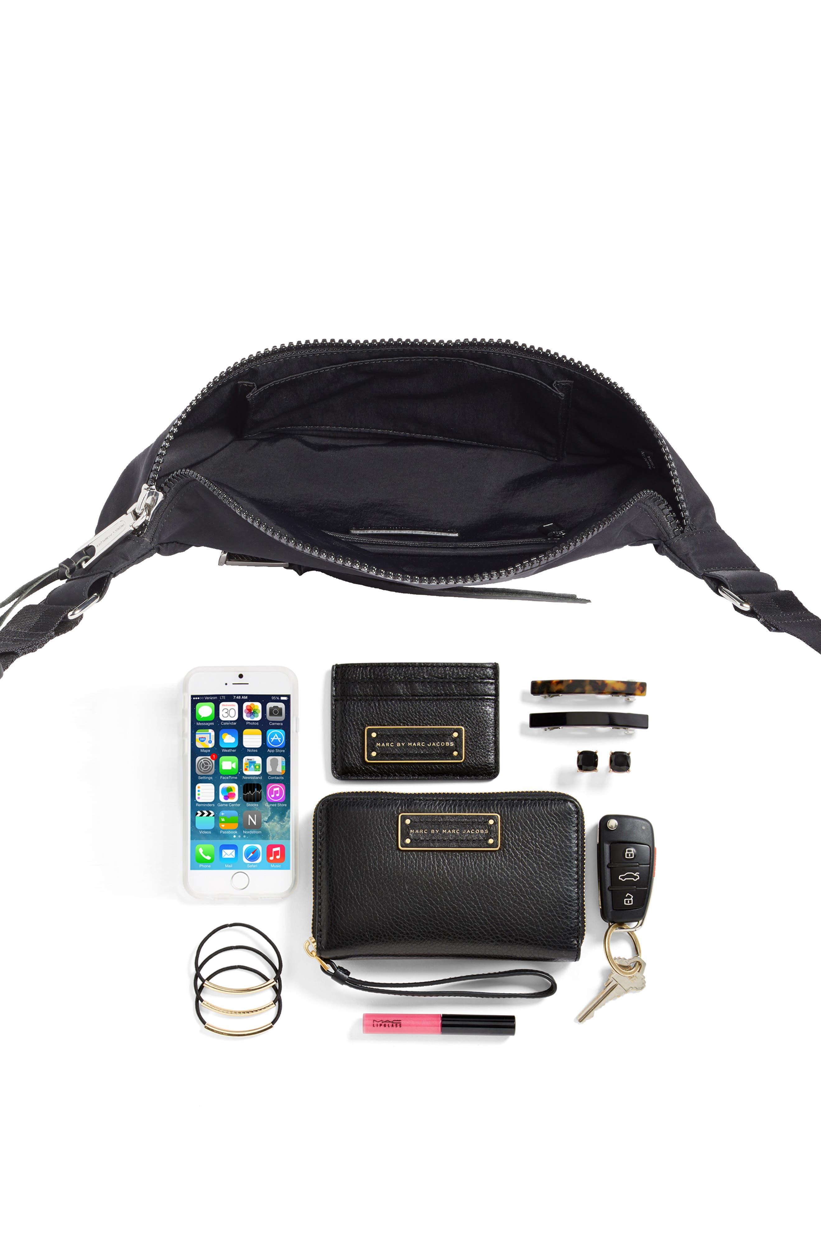 REBECCA MINKOFF, Nylon Belt Bag, Alternate thumbnail 8, color, BLACK
