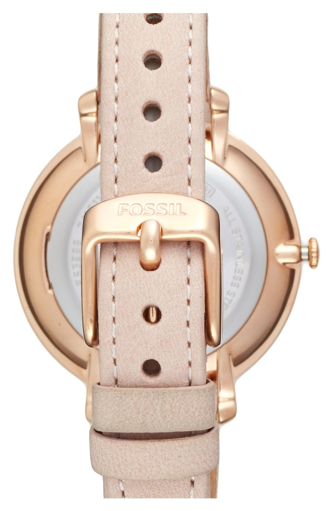 FOSSIL, 'Jacqueline' Leather Strap Watch, 36mm, Alternate thumbnail 2, color, BLUSH/ WHITE
