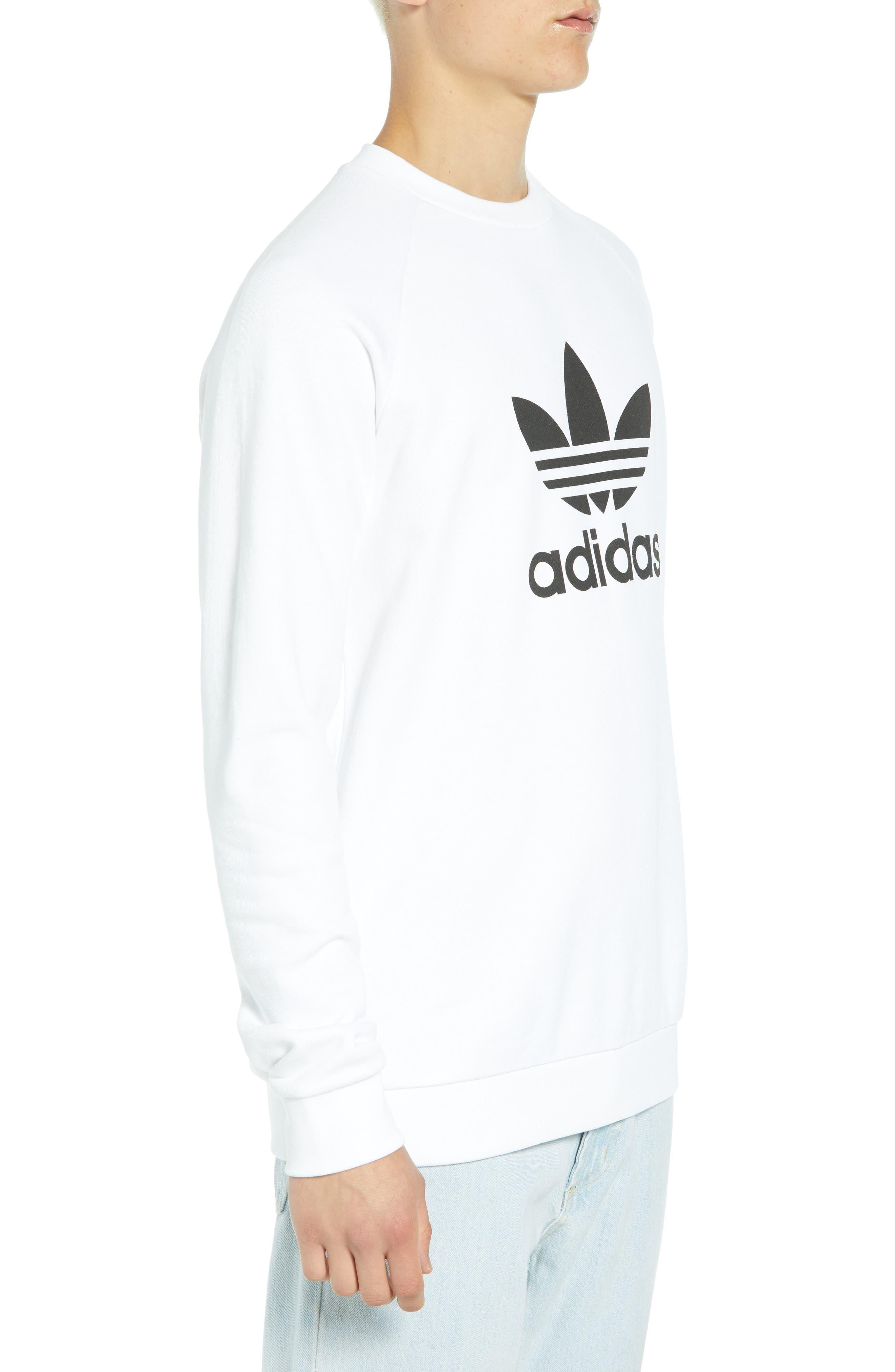 ADIDAS ORIGINALS, Trefoil Sweatshirt, Alternate thumbnail 3, color, WHITE