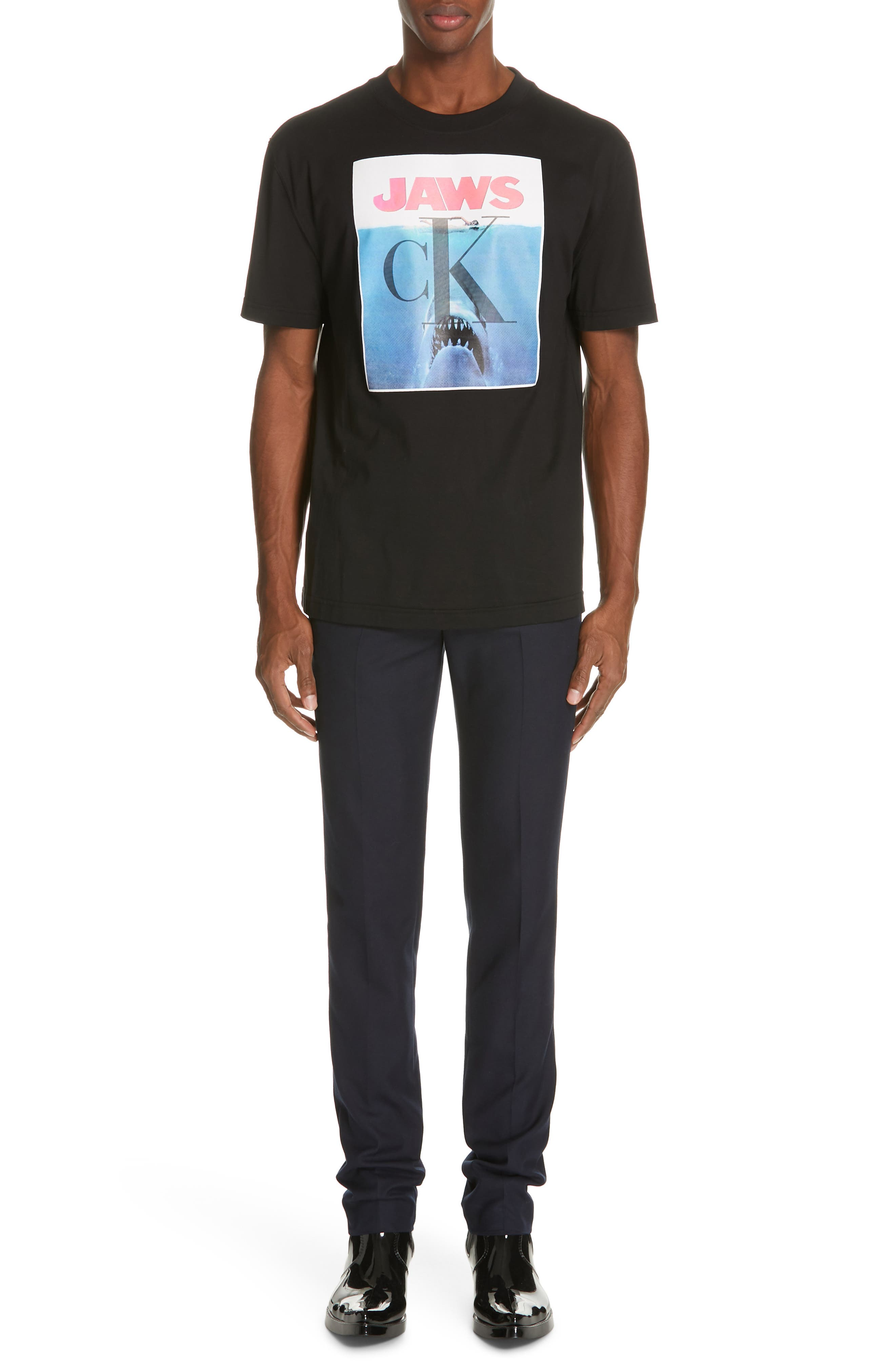 CALVIN KLEIN 205W39NYC, Jaws Graphic T-Shirt, Alternate thumbnail 7, color, BLACK