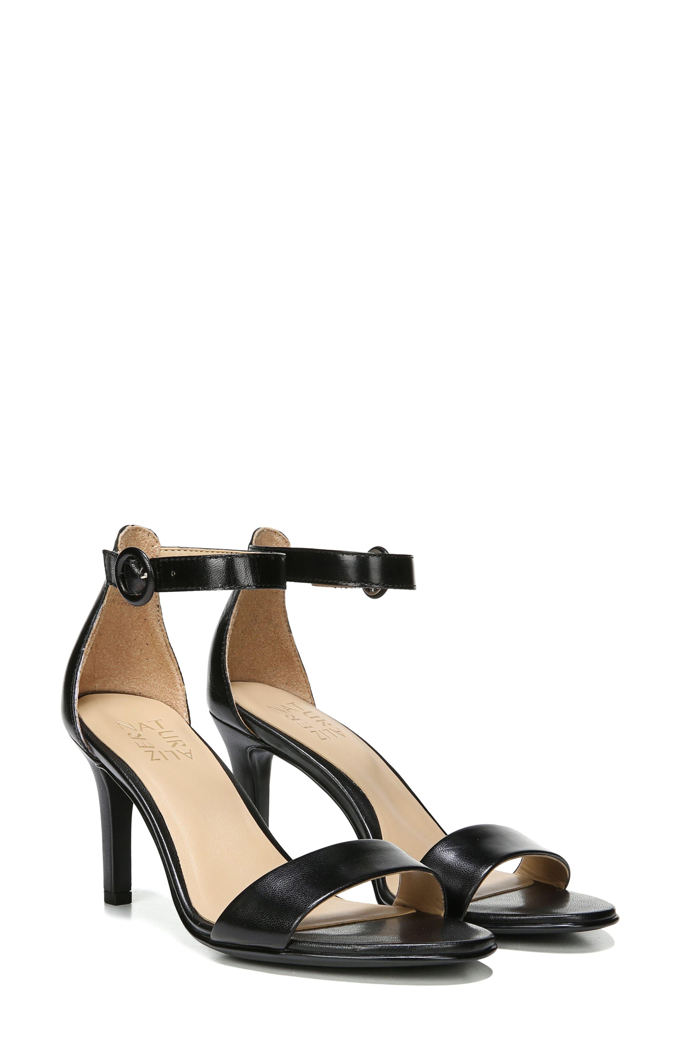 NATURALIZER, Kinsley Ankle Strap Sandal, Alternate thumbnail 7, color, BLACK LEATHER