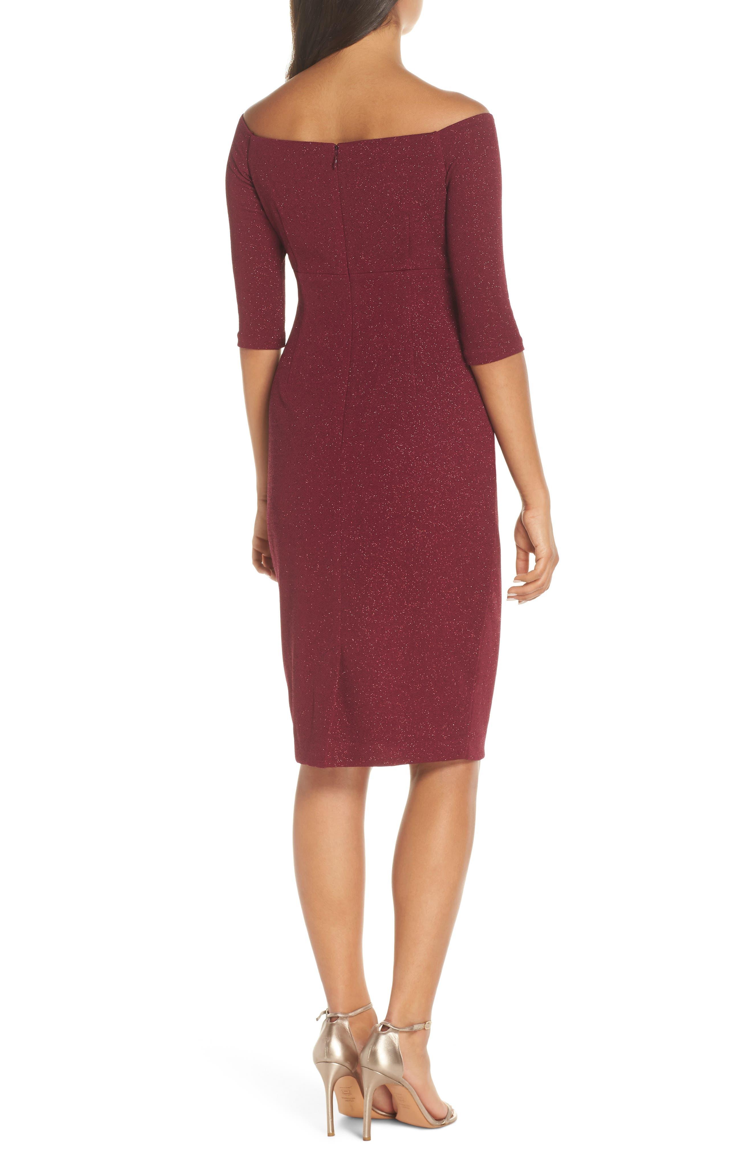 ELIZA J, Off the Shoulder Sheath Dress, Alternate thumbnail 2, color, WINE