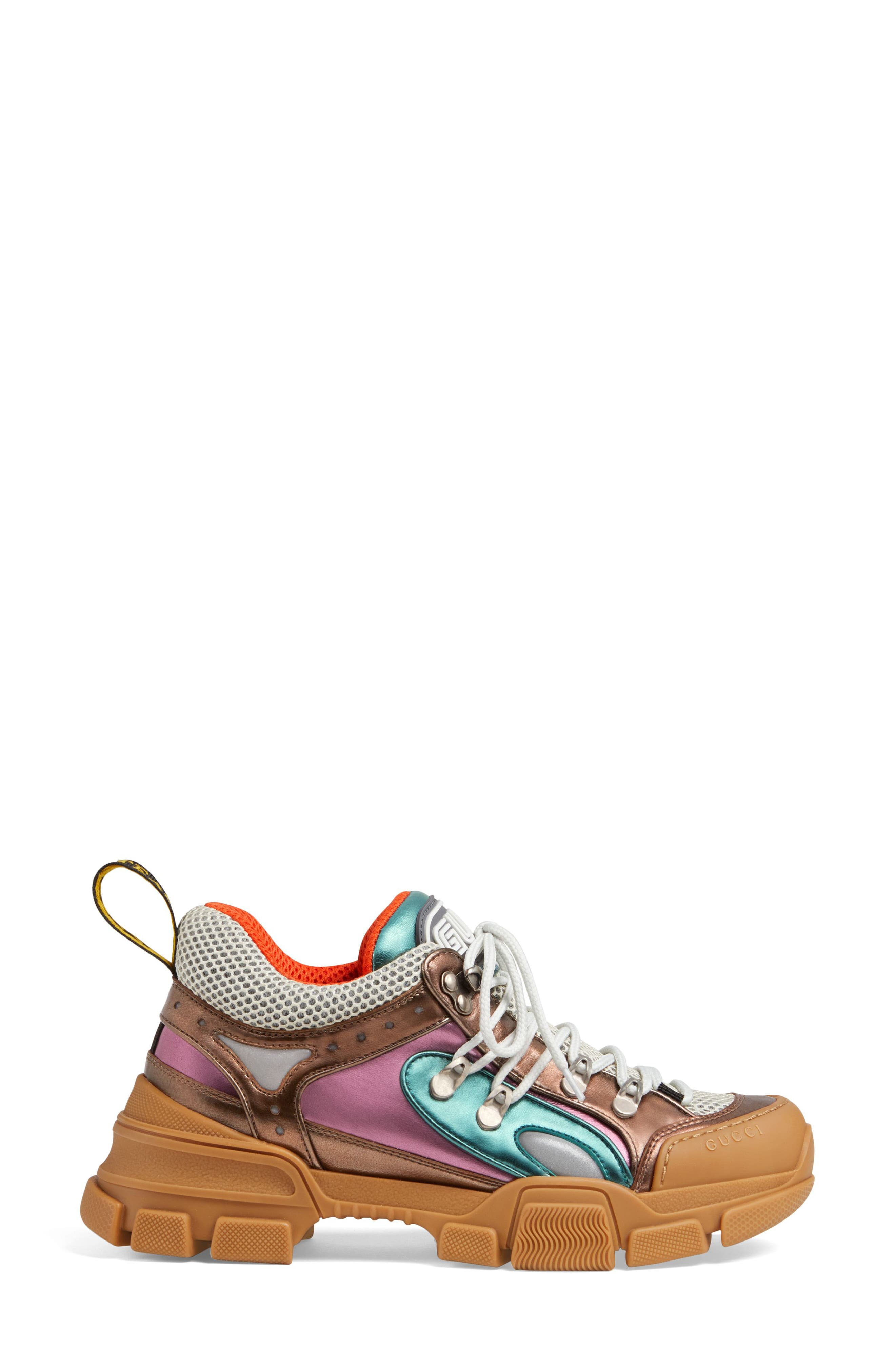 GUCCI, Flashtrek Lace-Up Sneaker, Alternate thumbnail 3, color, BROWN/ BLUE/ PINK