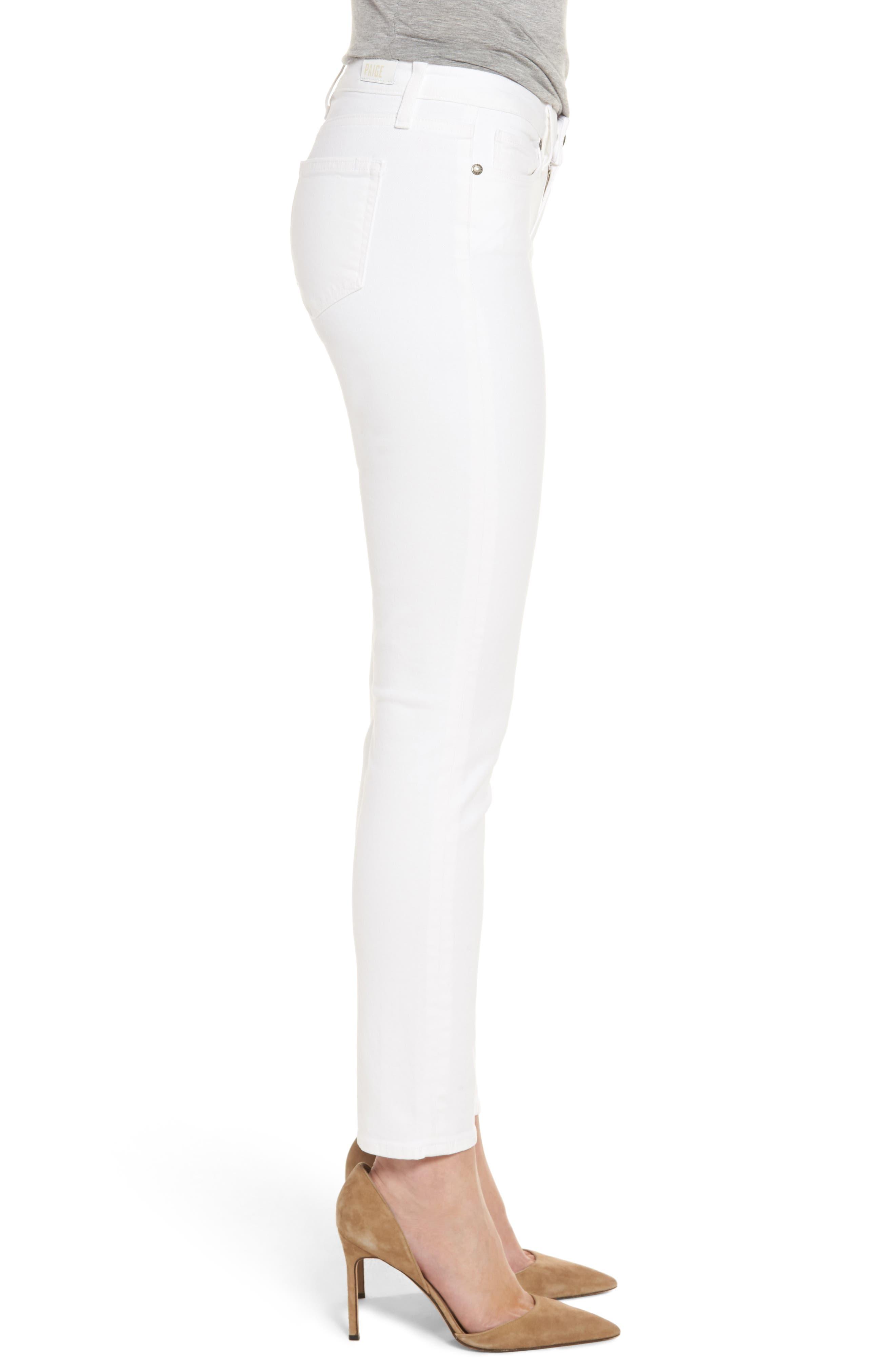 PAIGE, 'Skyline' Ankle Peg Skinny Jeans, Alternate thumbnail 4, color, 100