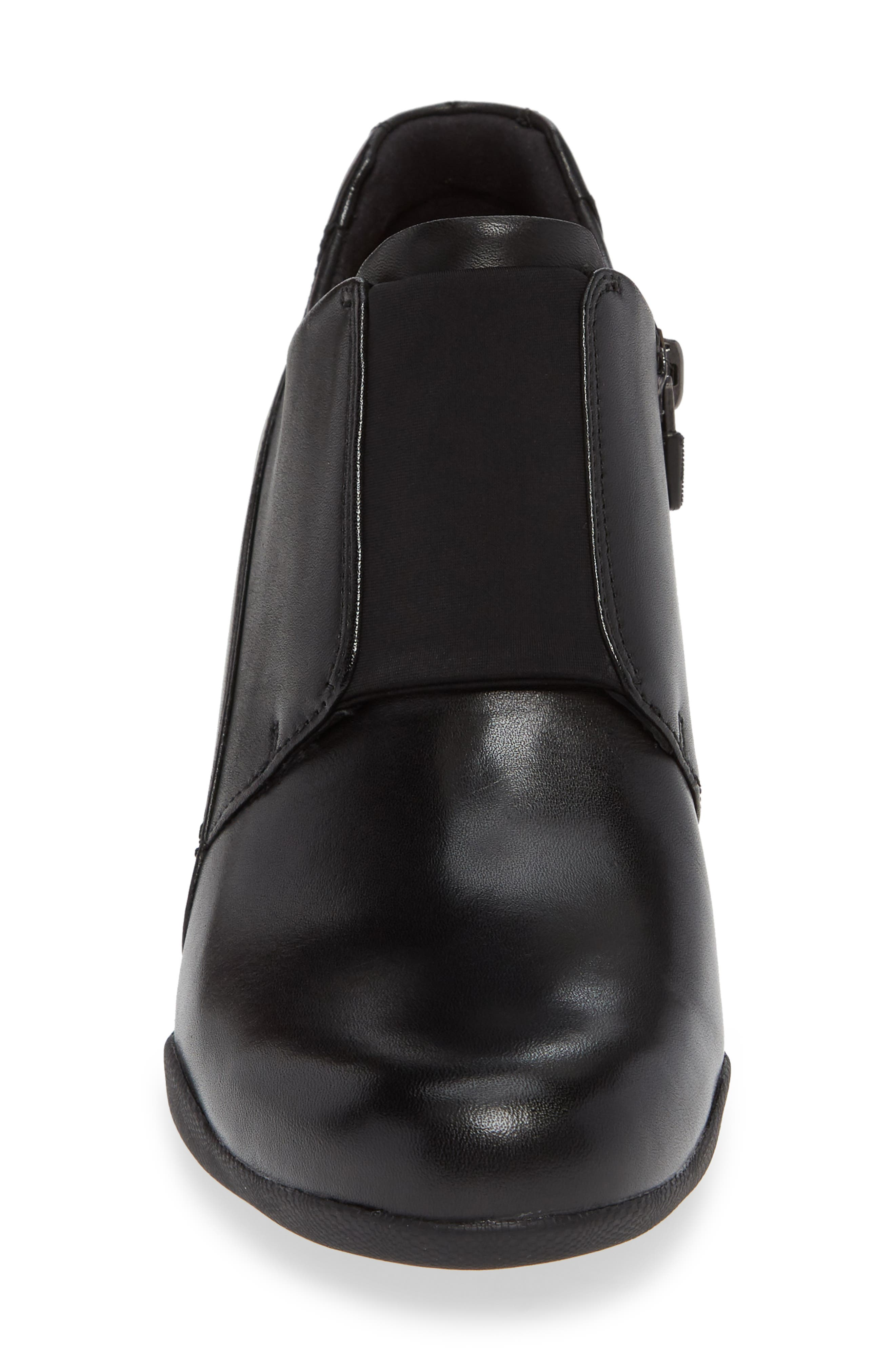 CLARKS<SUP>®</SUP>, Un Rosa Zip Bootie, Alternate thumbnail 4, color, BLACK LEATHER