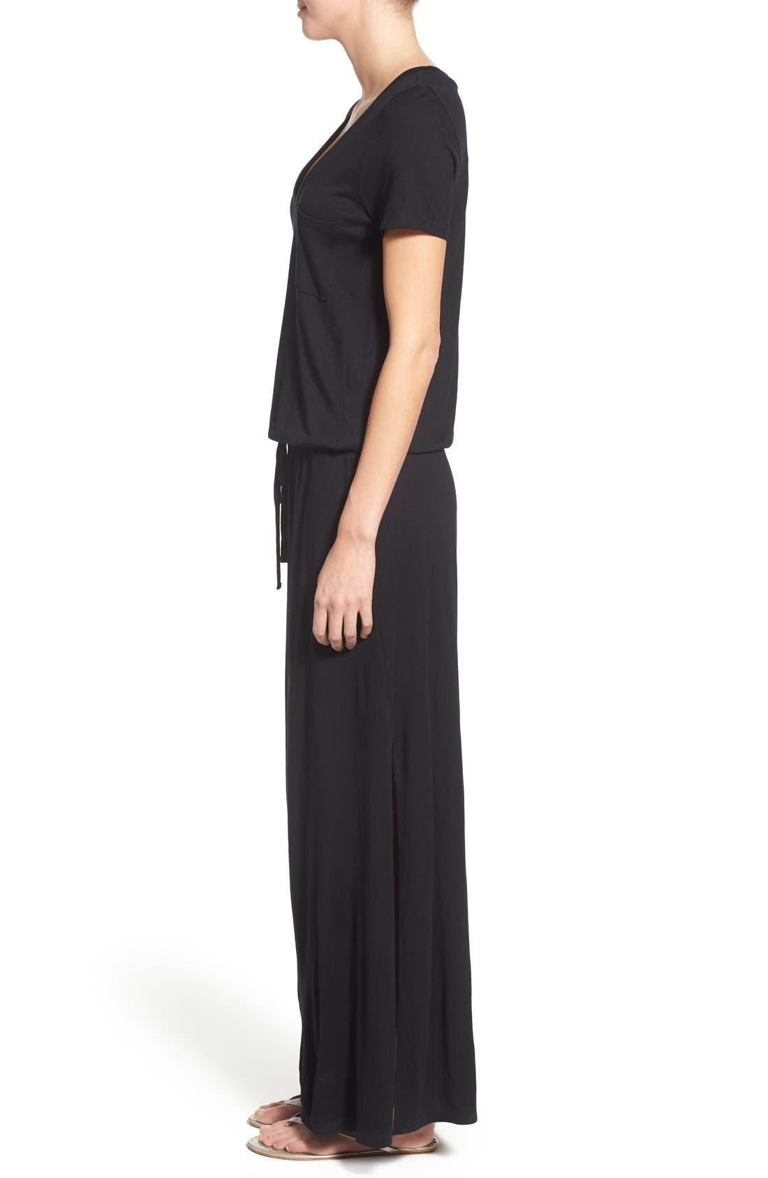 CASLON<SUP>®</SUP>, Drawstring Jersey Maxi Dress, Alternate thumbnail 9, color, 001