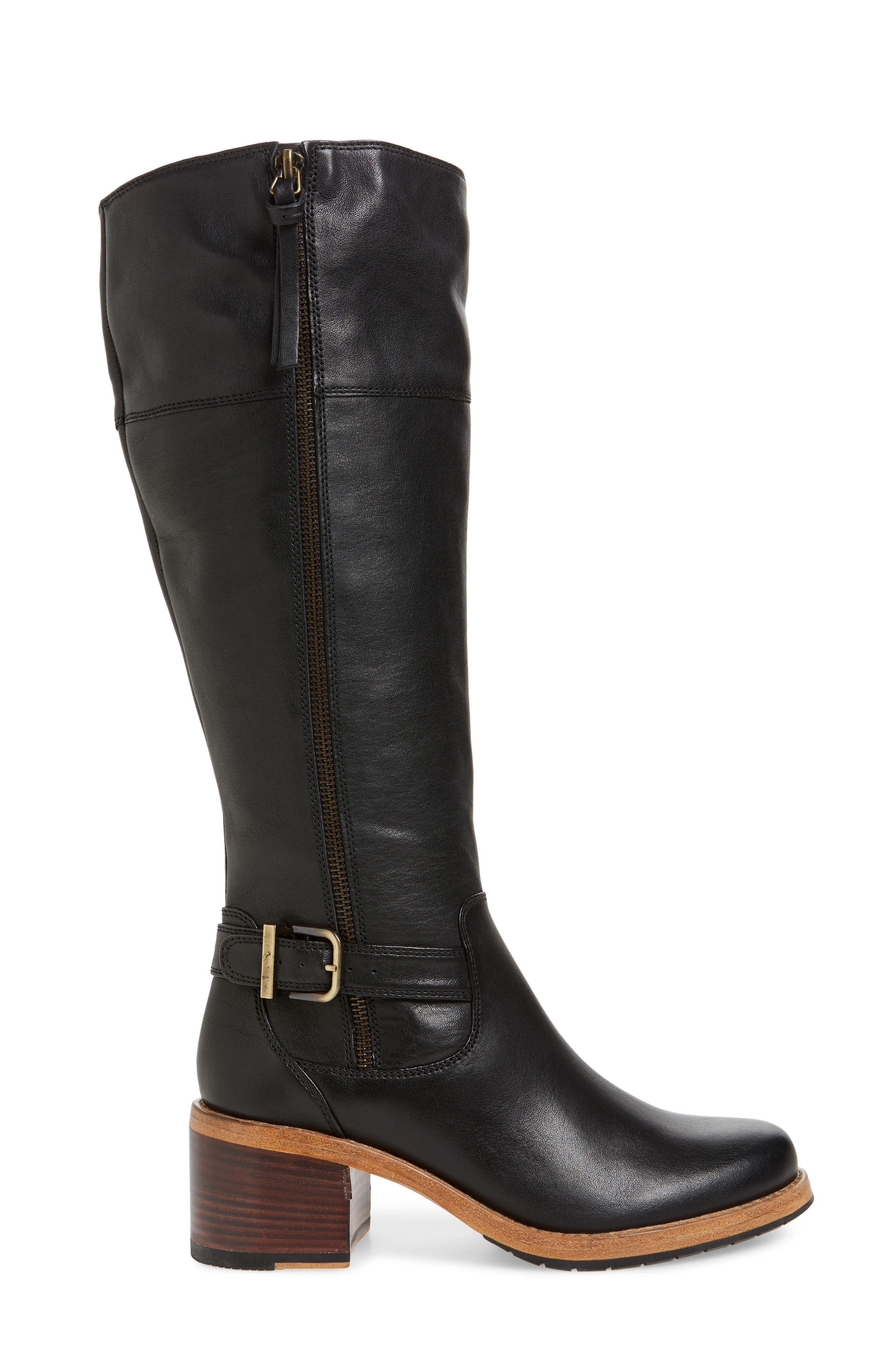 CLARKS<SUP>®</SUP>, Clarkdale Sona Boot, Alternate thumbnail 3, color, BLACK LEATHER