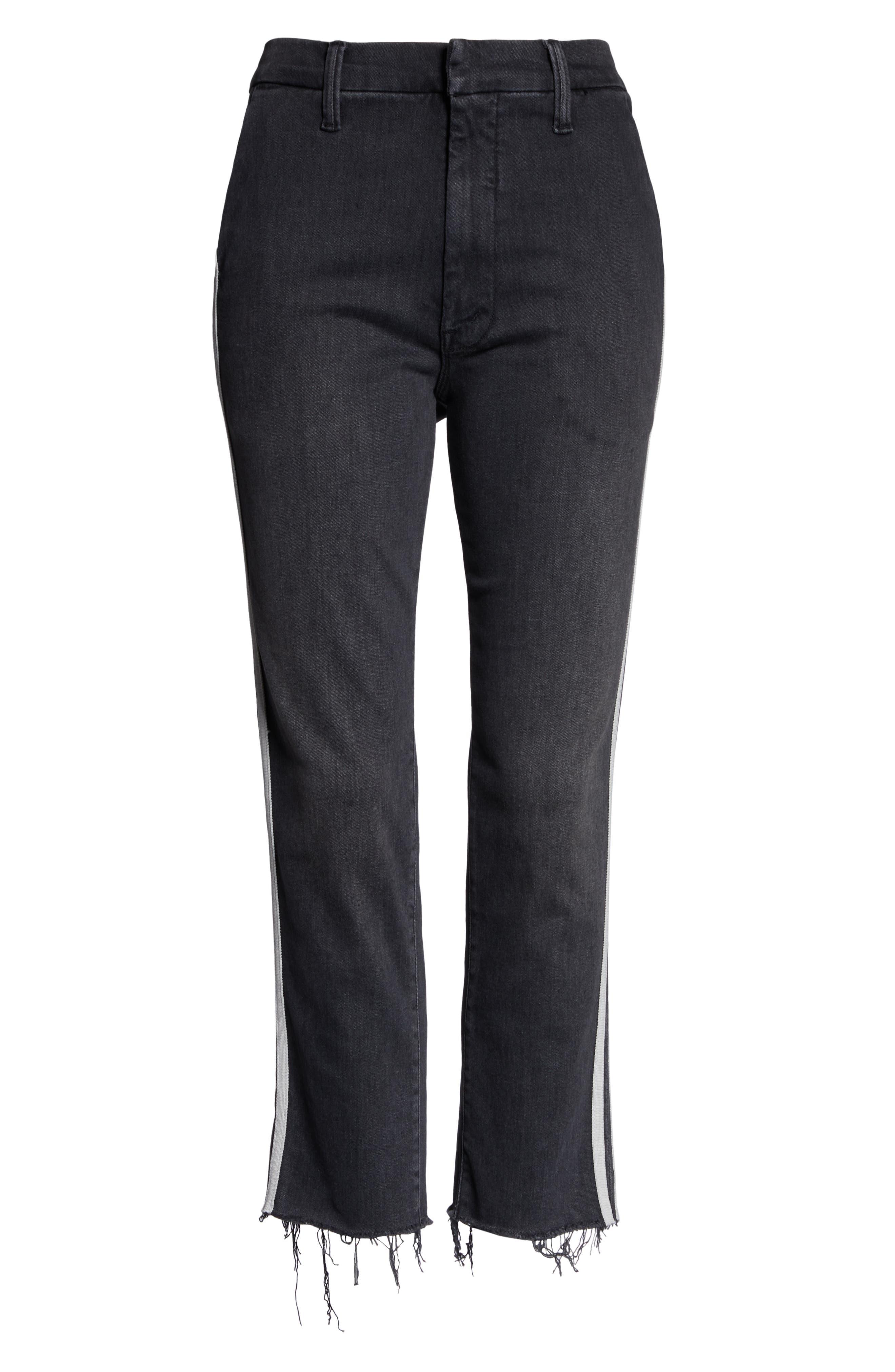 MOTHER, The Shaker Prep High Waist Crop Slim Jeans, Alternate thumbnail 5, color, DEAR MR. BLACK RACER