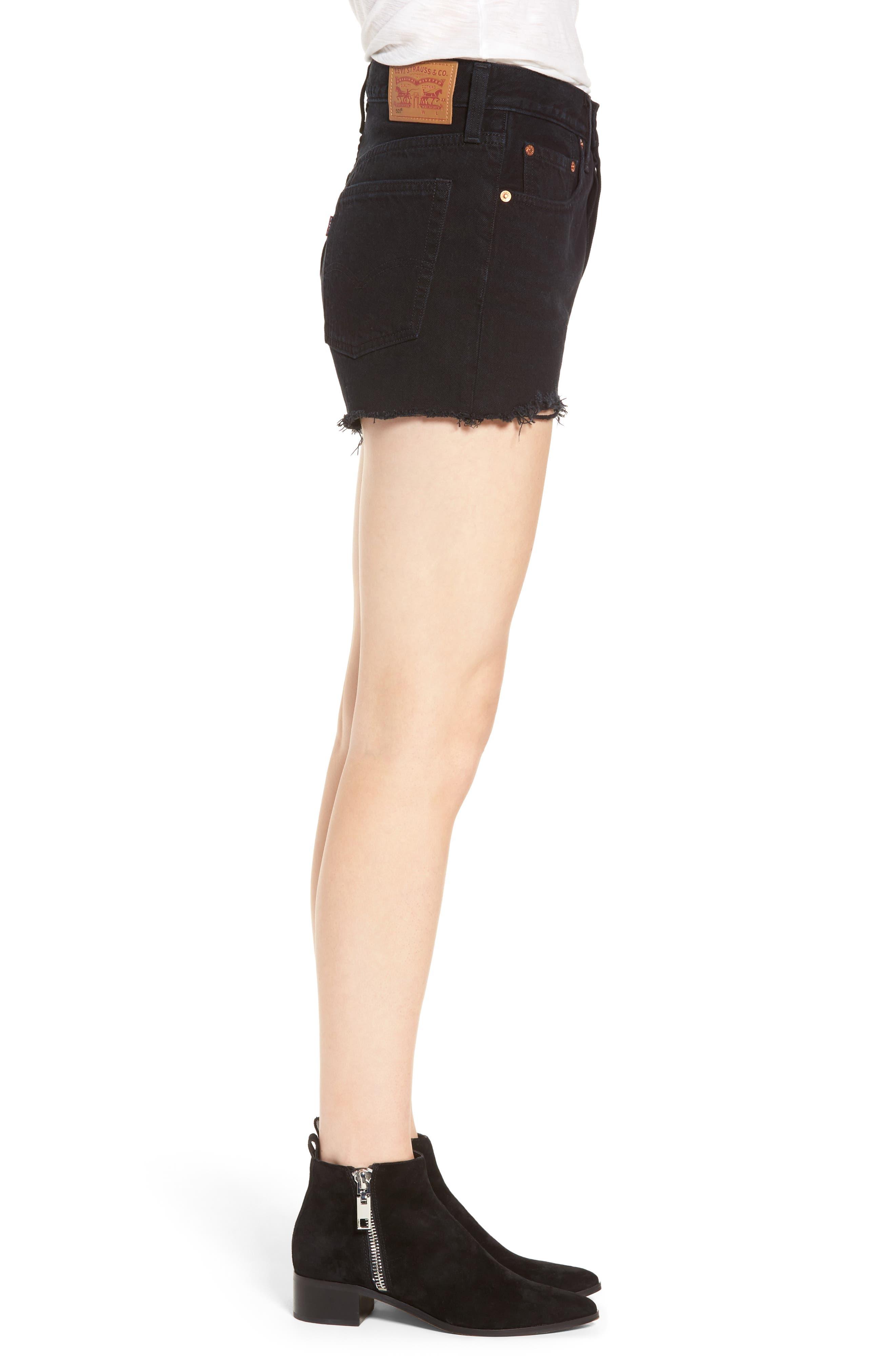 LEVI'S<SUP>®</SUP>, 501<sup>®</sup> High Rise Denim Shorts, Alternate thumbnail 4, color, DARKEST HOUR