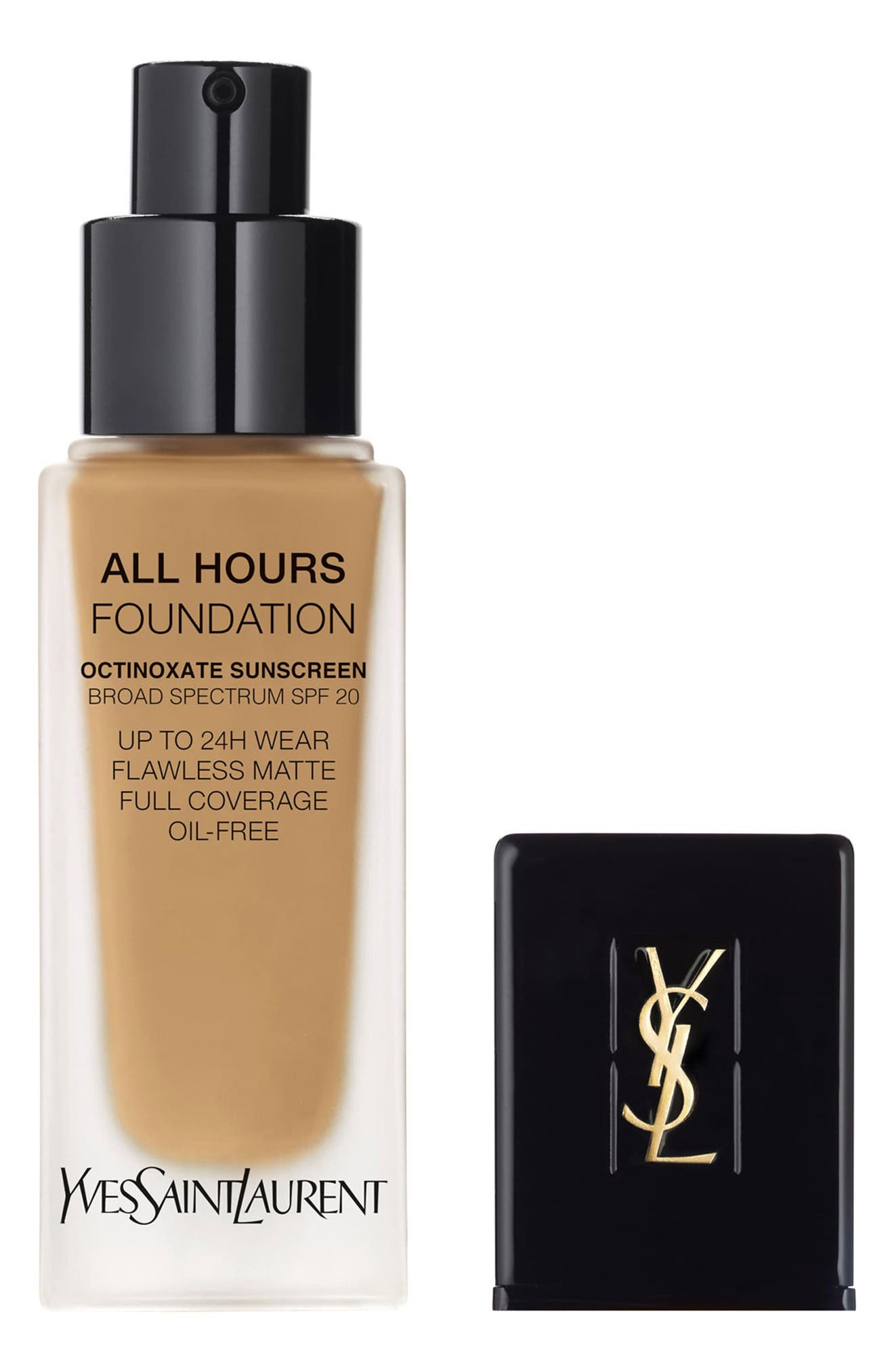 YVES SAINT LAURENT, All Hours Full Coverage Matte Foundation SPF 20, Main thumbnail 1, color, B60 AMBER
