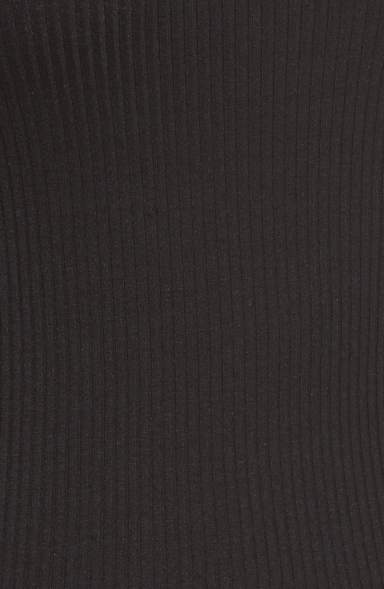ROSEMUNDE, Silk & Cotton Ribbed Tank, Alternate thumbnail 5, color, BLACK