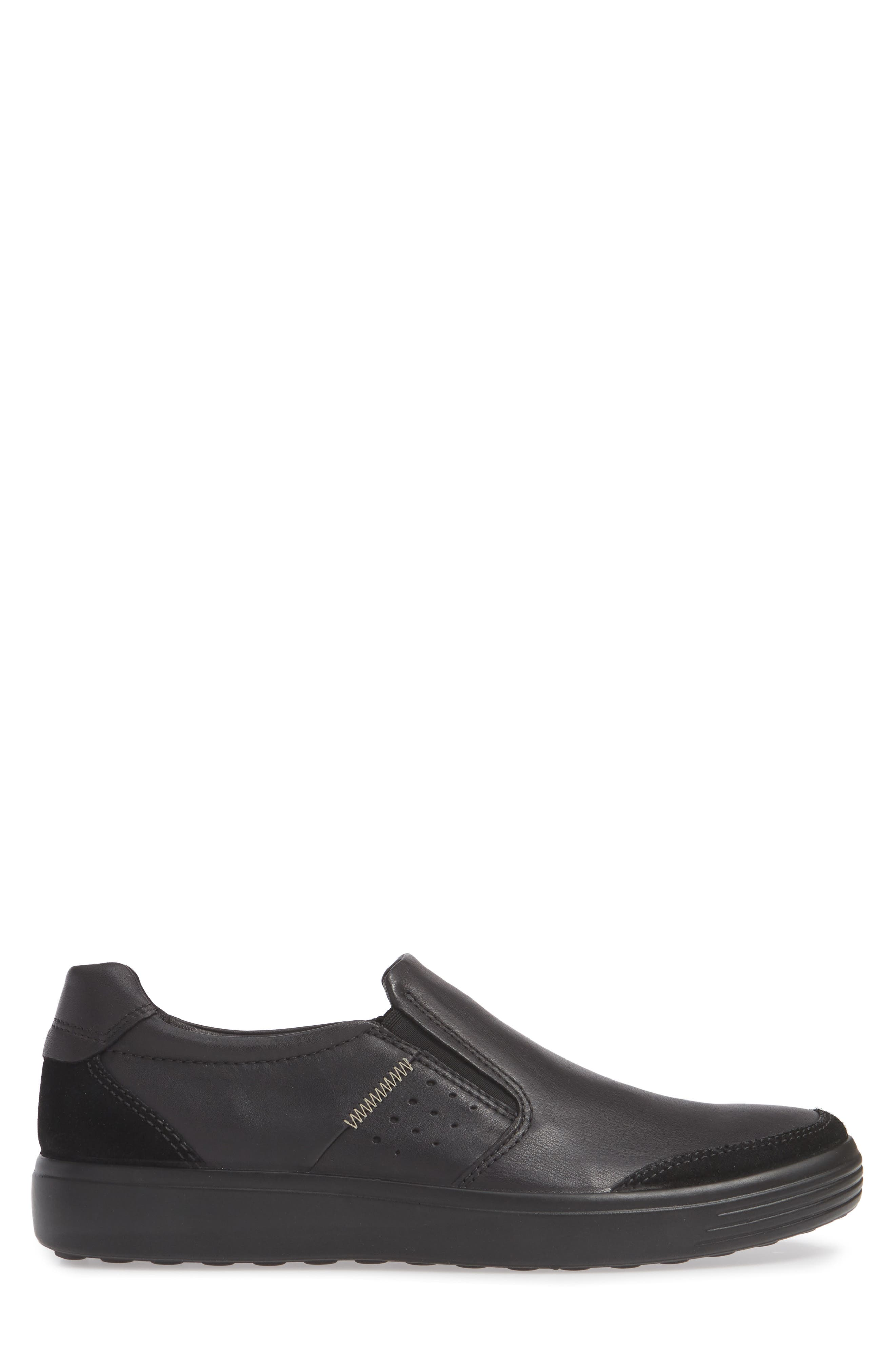 ECCO, Soft 7 Relaxed Slip-On, Alternate thumbnail 3, color, BLACK LEATHER