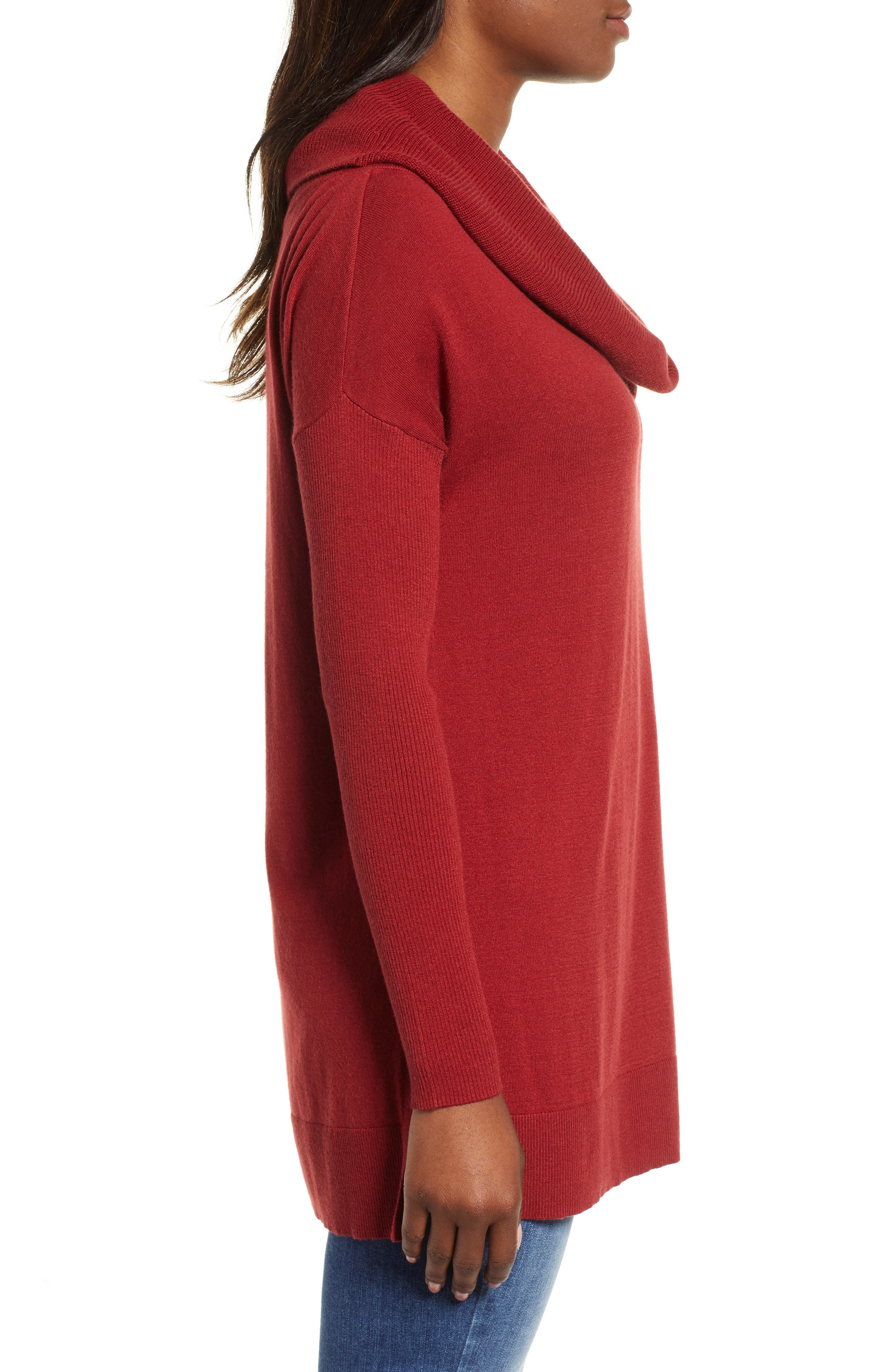 CASLON<SUP>®</SUP>, Side Slit Convertible Cowl Neck Tunic, Alternate thumbnail 3, color, RED SUN
