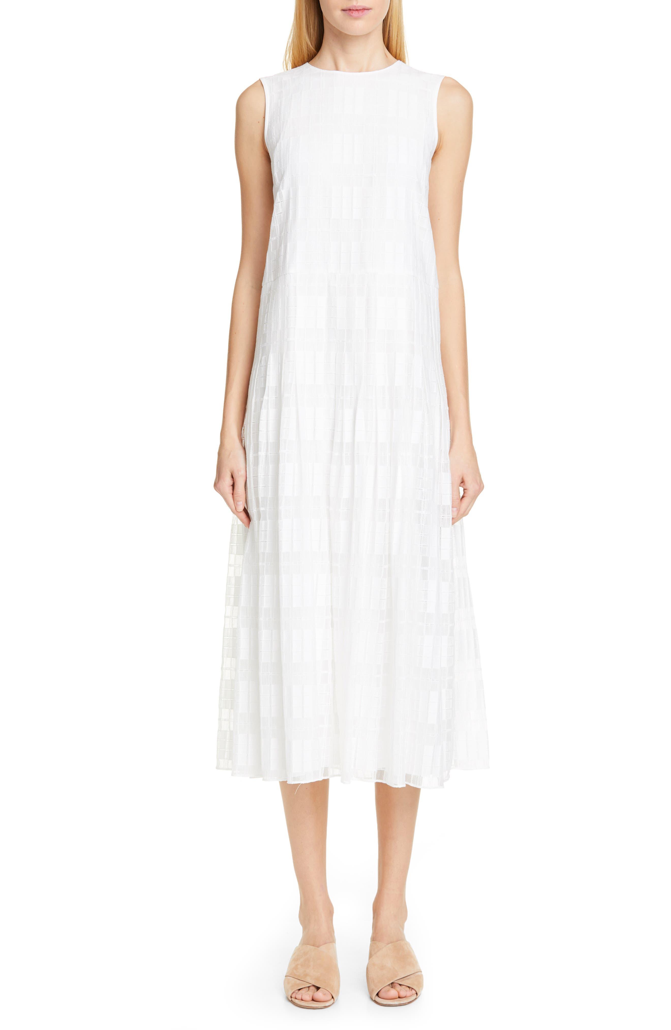 Lafayette 148 New York Avalynn Sleeveless Midi Dress, White