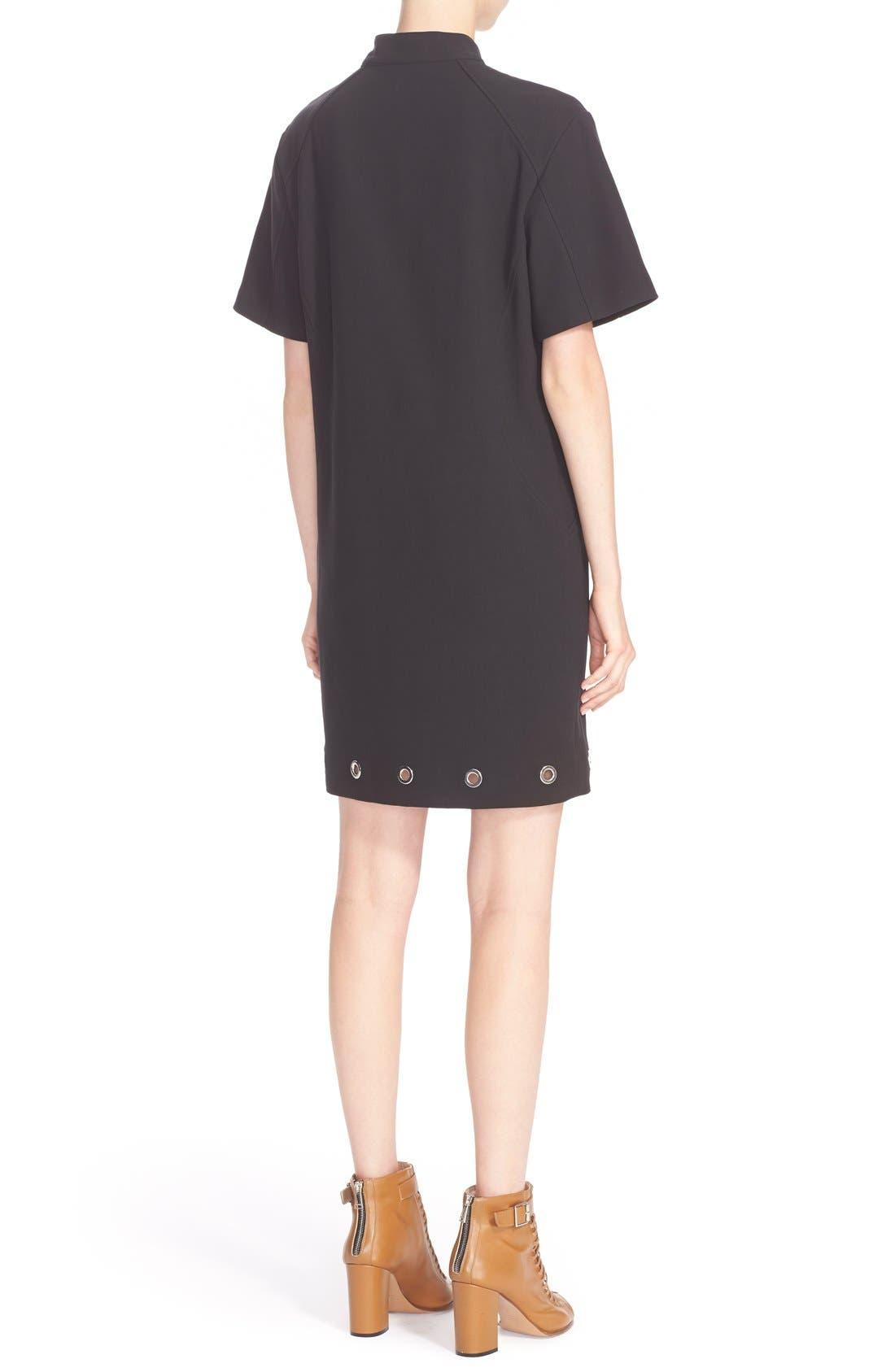 BELSTAFF, Grommet Detail Stretch Cotton Shift Dress, Alternate thumbnail 5, color, 001