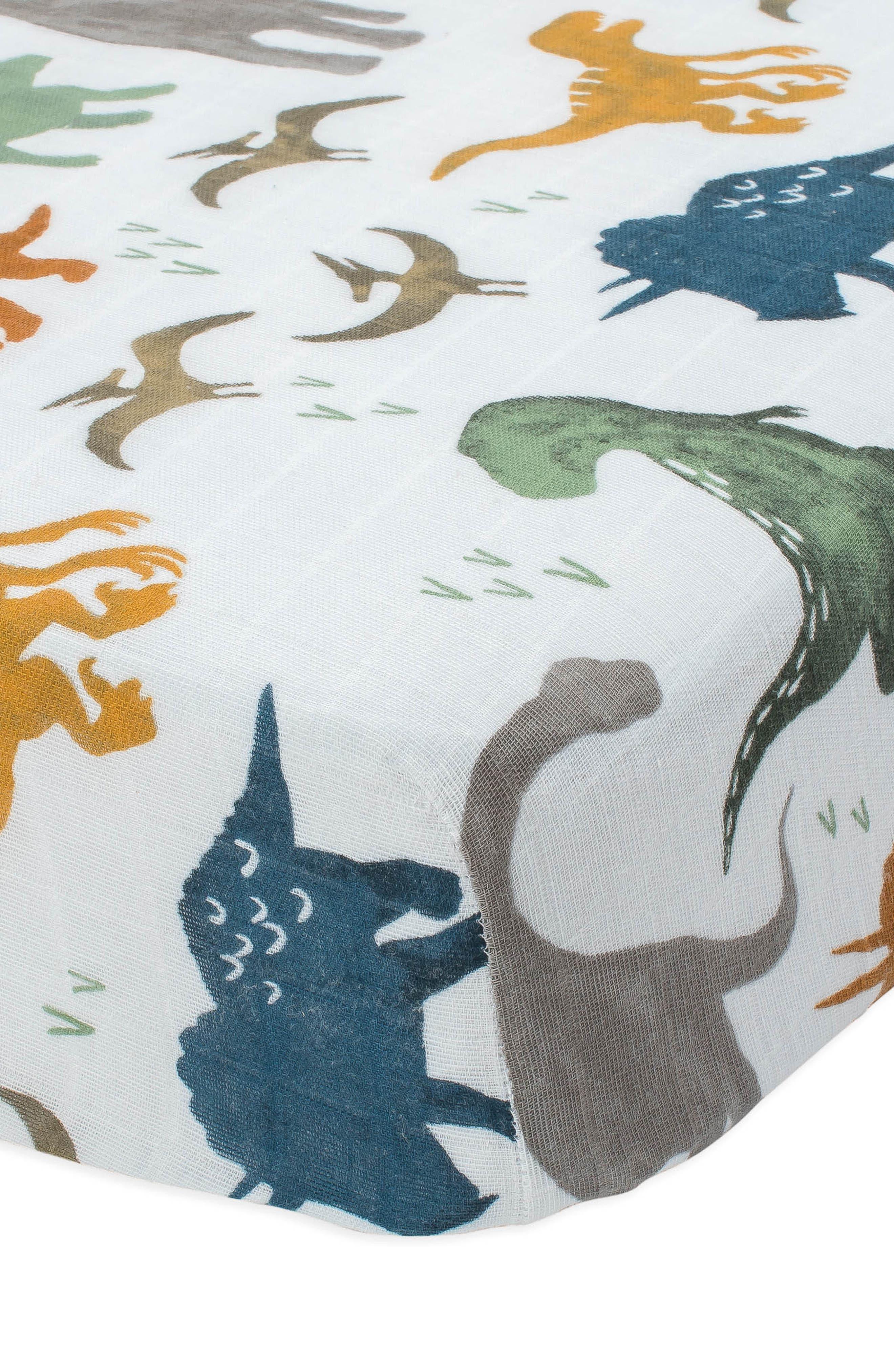 LITTLE UNICORN, Cotton Muslin Crib Sheet, Alternate thumbnail 2, color, DINO FRIENDS