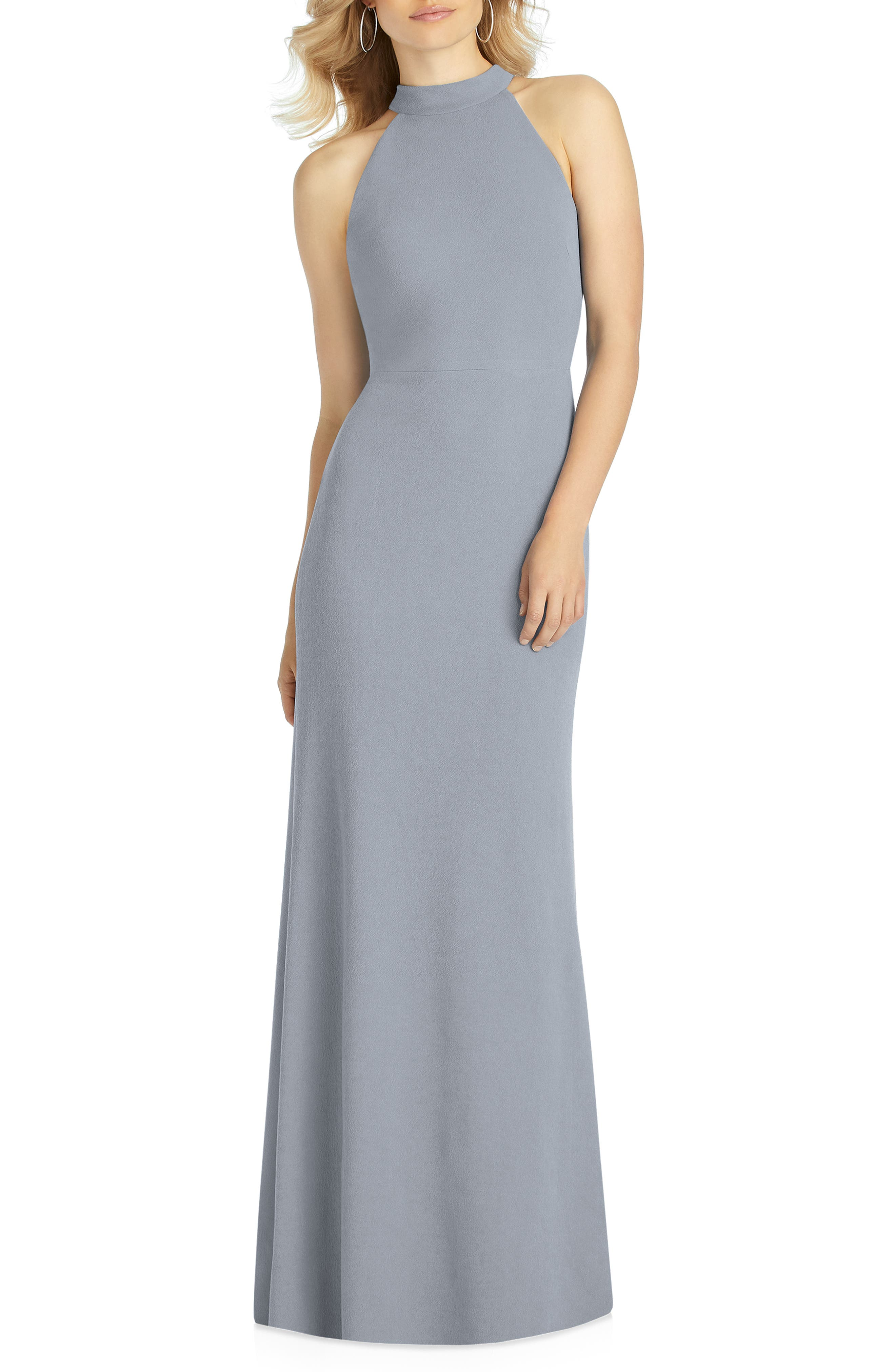 AFTER SIX, Halter Neck Stretch Crepe Evening Dress, Alternate thumbnail 6, color, PLATINUM