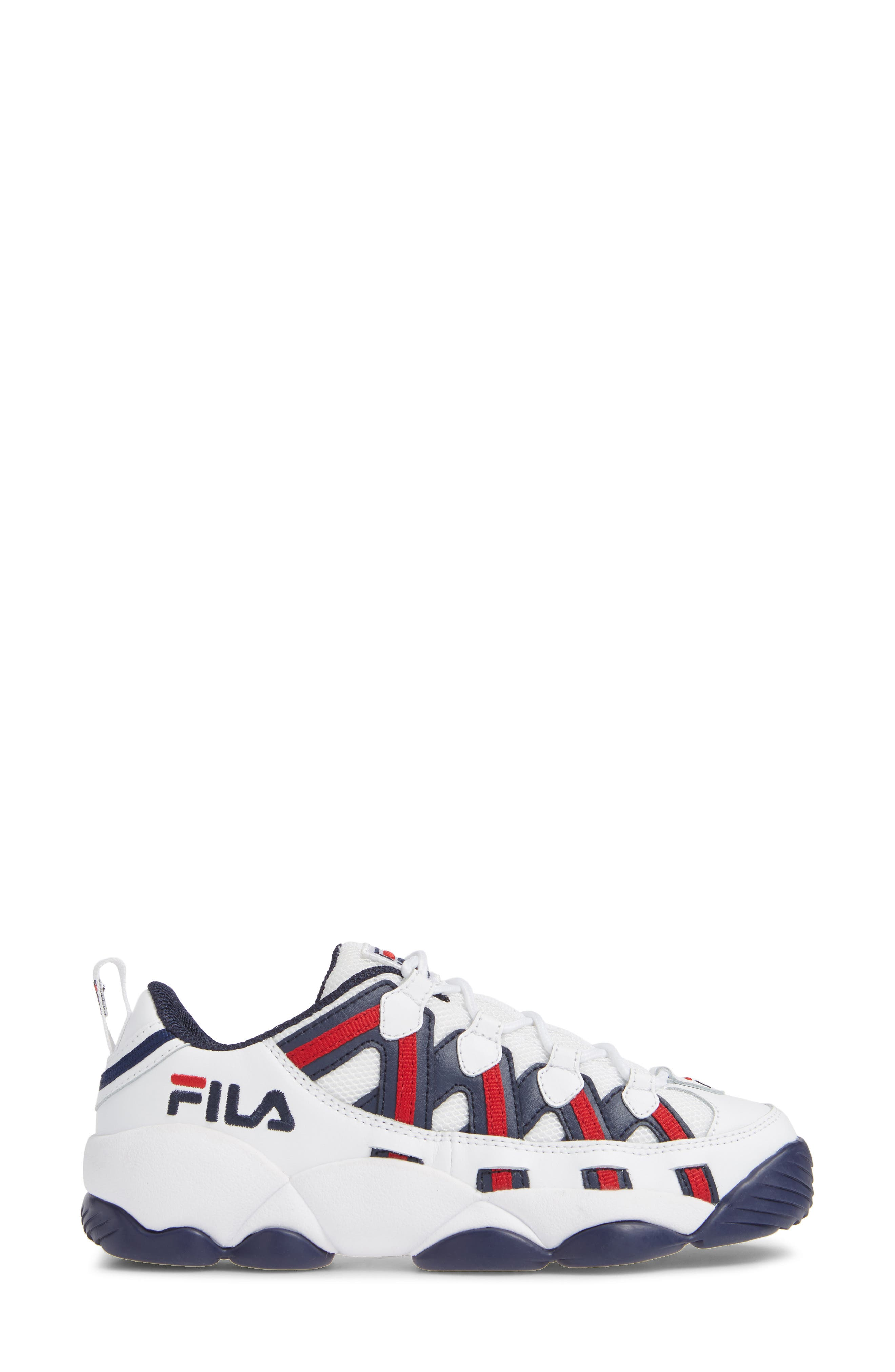 FILA, Spaghetti Low Sneaker, Alternate thumbnail 3, color, WHITE/ FILA NAVY/ FILA RED