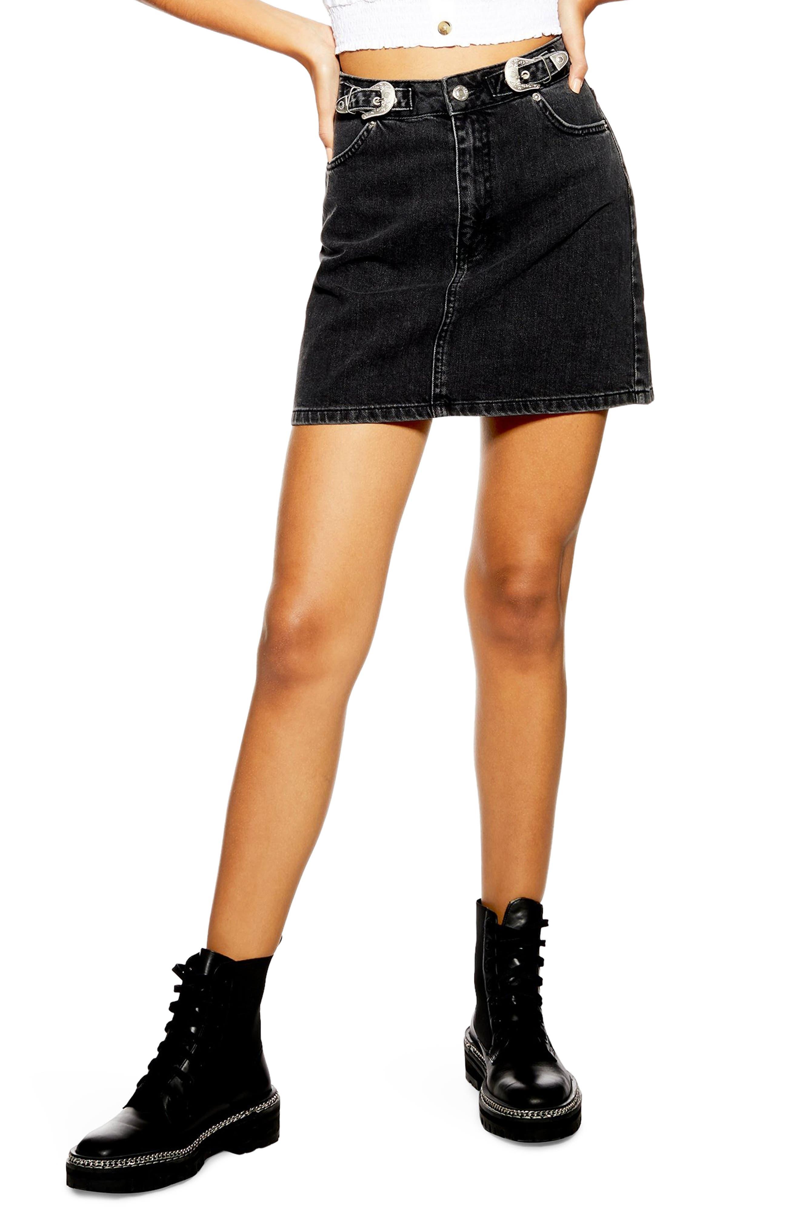 TOPSHOP, Buckle Denim Skirt, Main thumbnail 1, color, 002