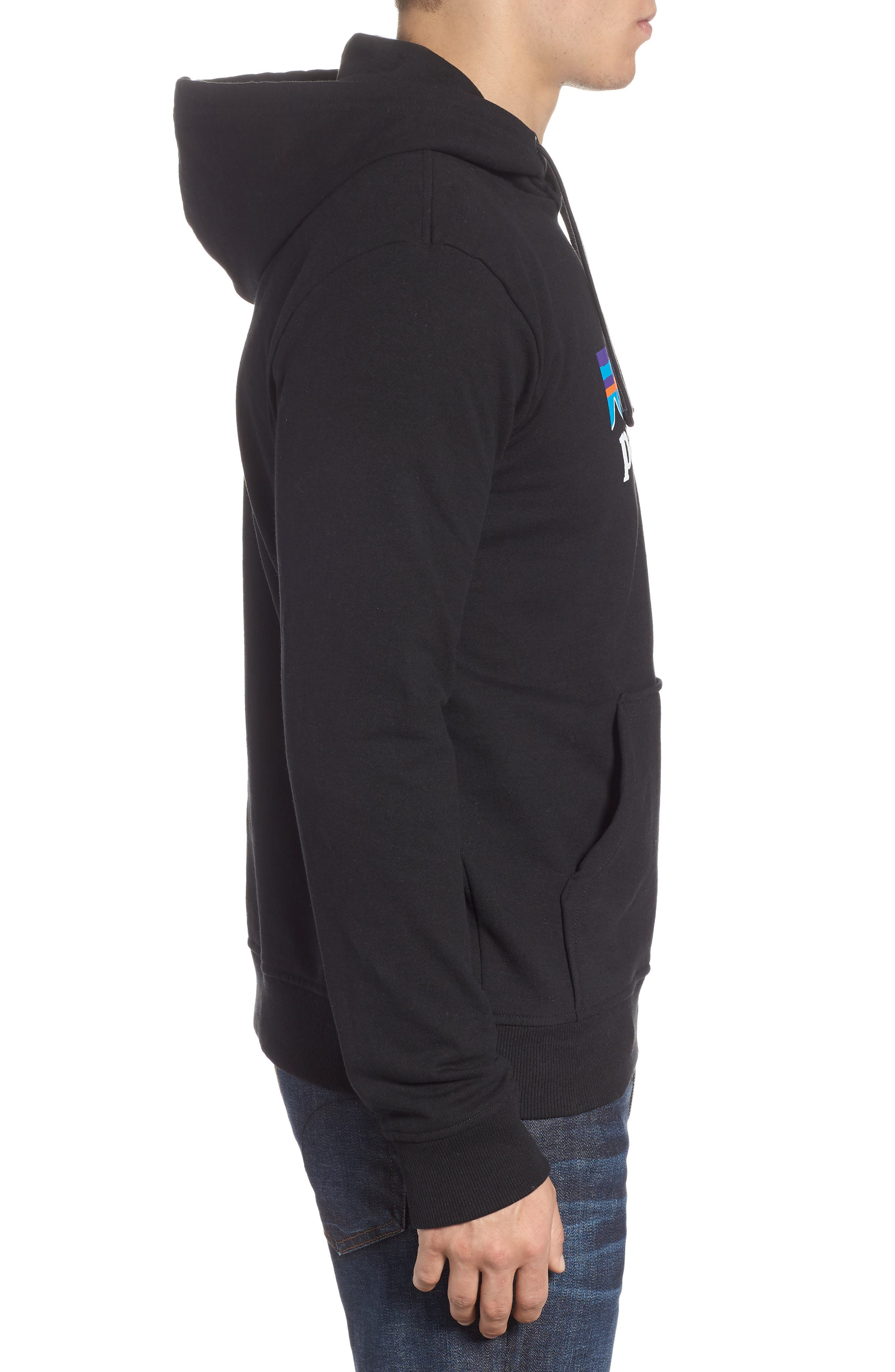 PATAGONIA, P6 Logo Uprisal Hooded Sweatshirt, Alternate thumbnail 3, color, BLACK