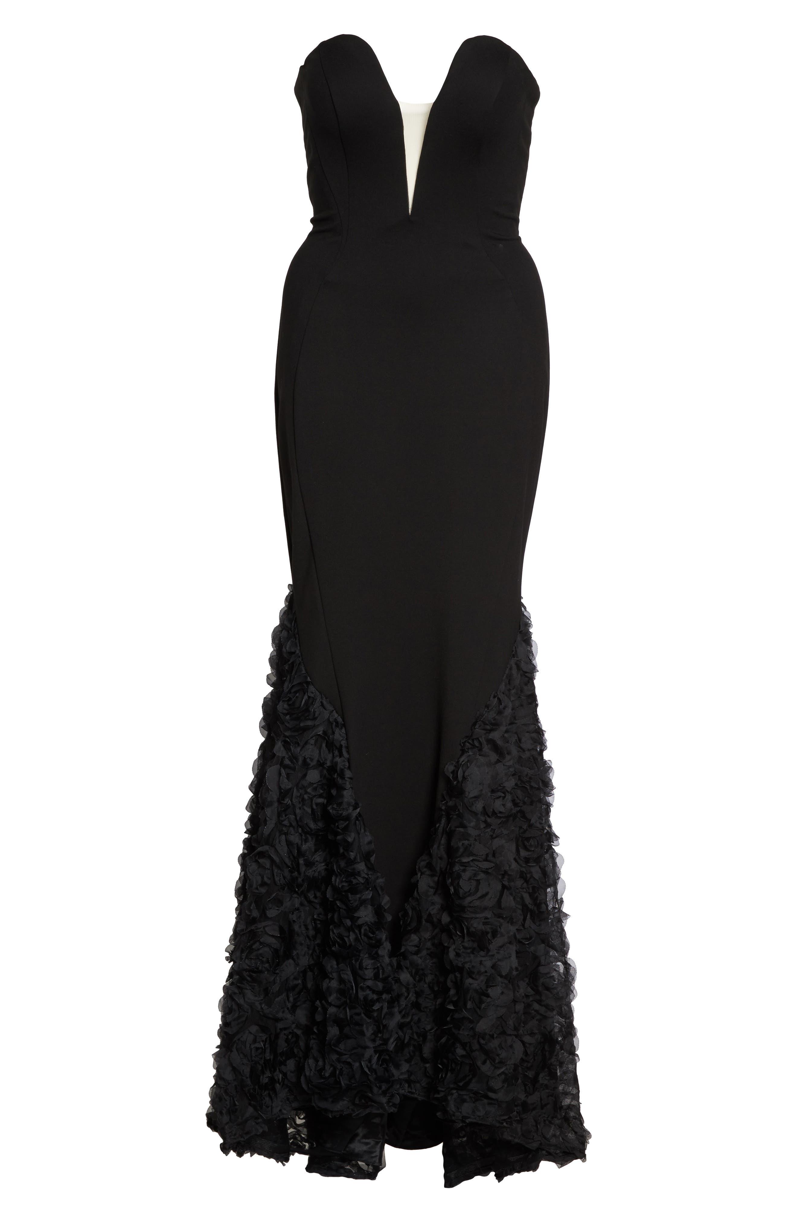 MAC DUGGAL, Strapless Bustier Rosette Gown, Alternate thumbnail 6, color, BLACK