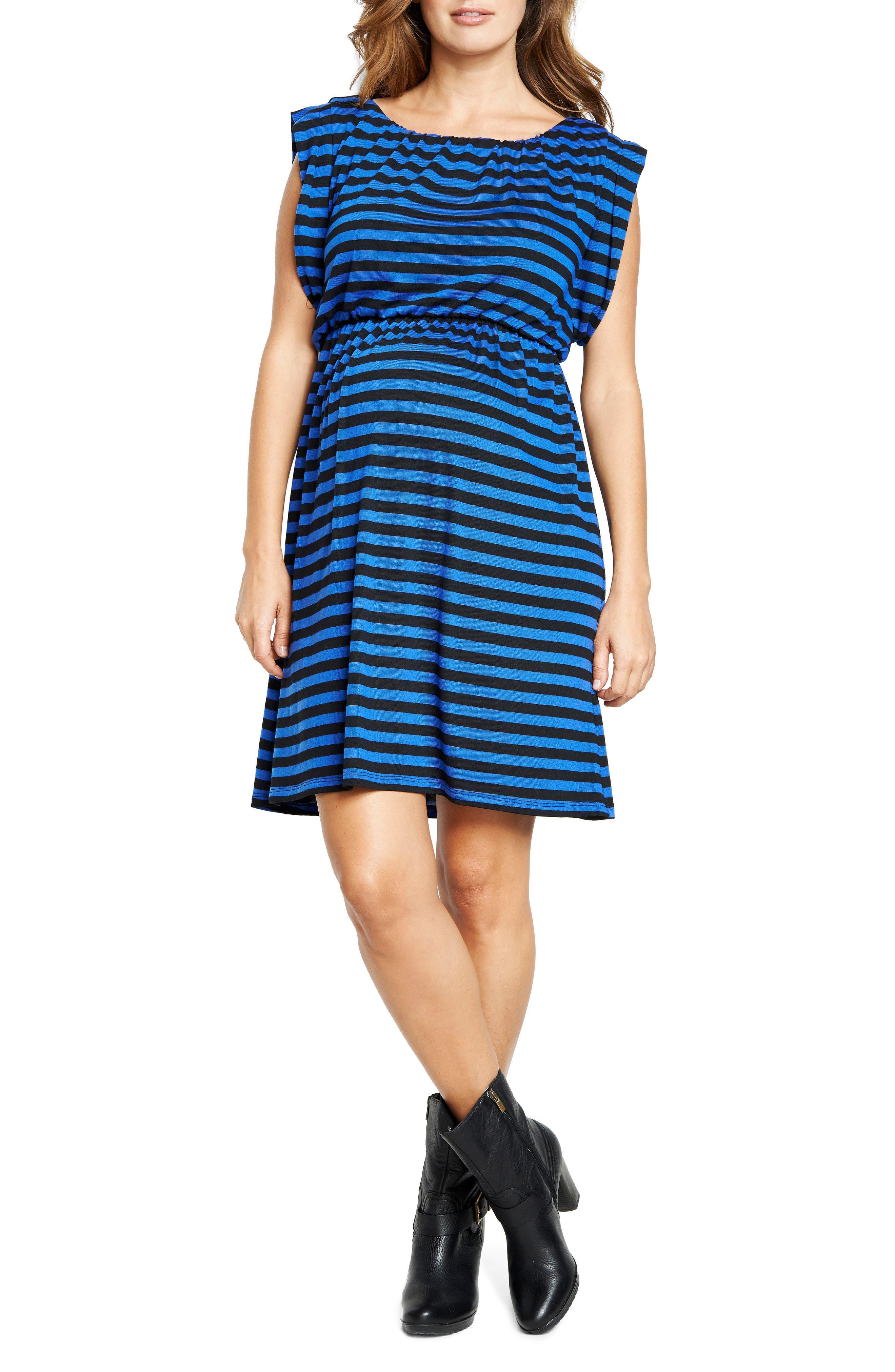 Maternal America Maternity Printed Tunic Dress, Blue