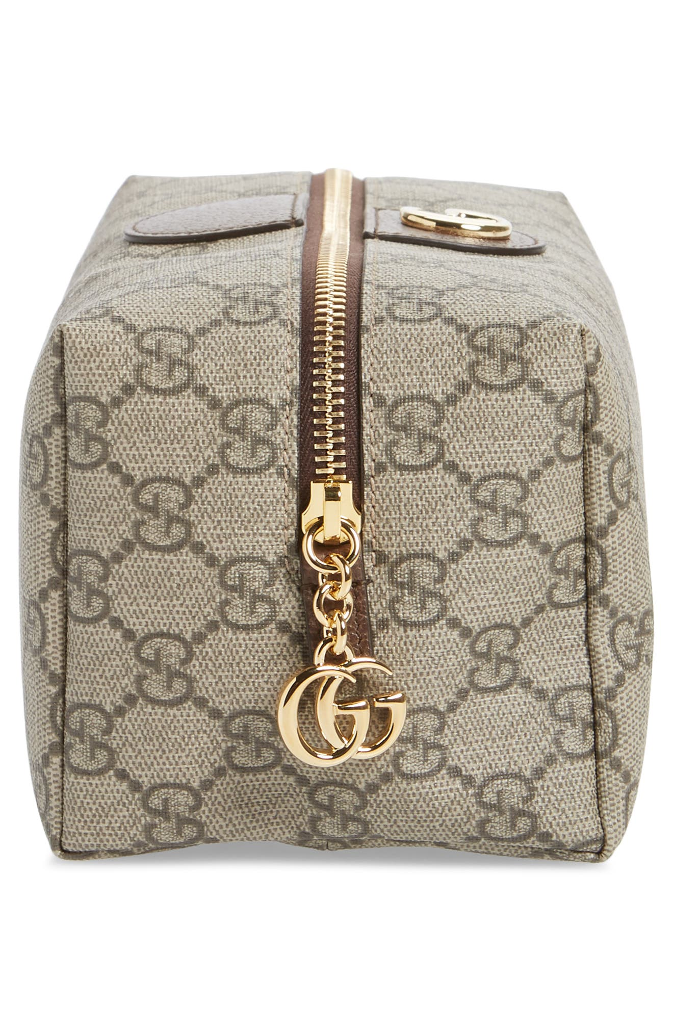 GUCCI, Medium Ophidia GG Supreme Canvas Cosmetics Case, Alternate thumbnail 4, color, BEIGE EBONY/ NEW ACERO