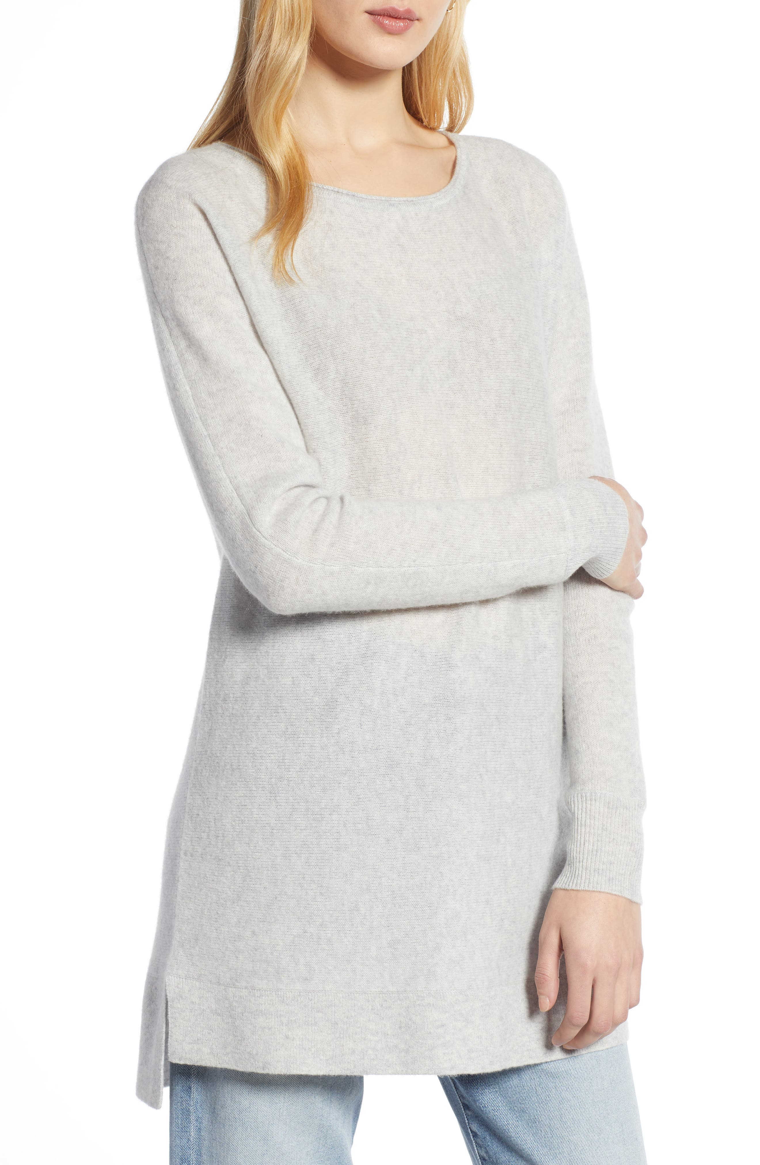 HALOGEN<SUP>®</SUP>, High/Low Wool & Cashmere Tunic Sweater, Main thumbnail 1, color, 023