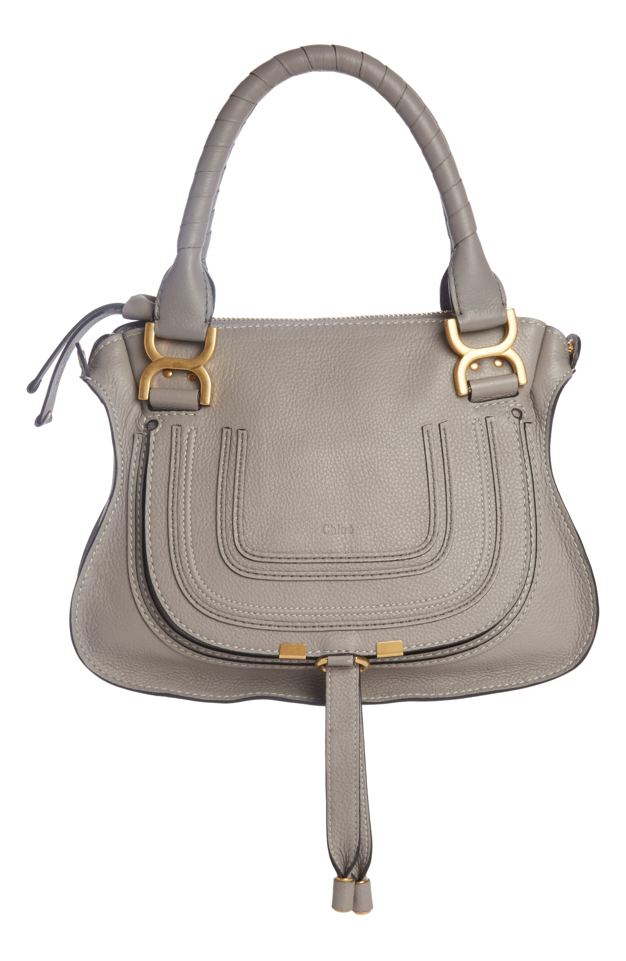 CHLOÉ Marcie Small Double Carry Bag, Main, color, CASHMERE GREY