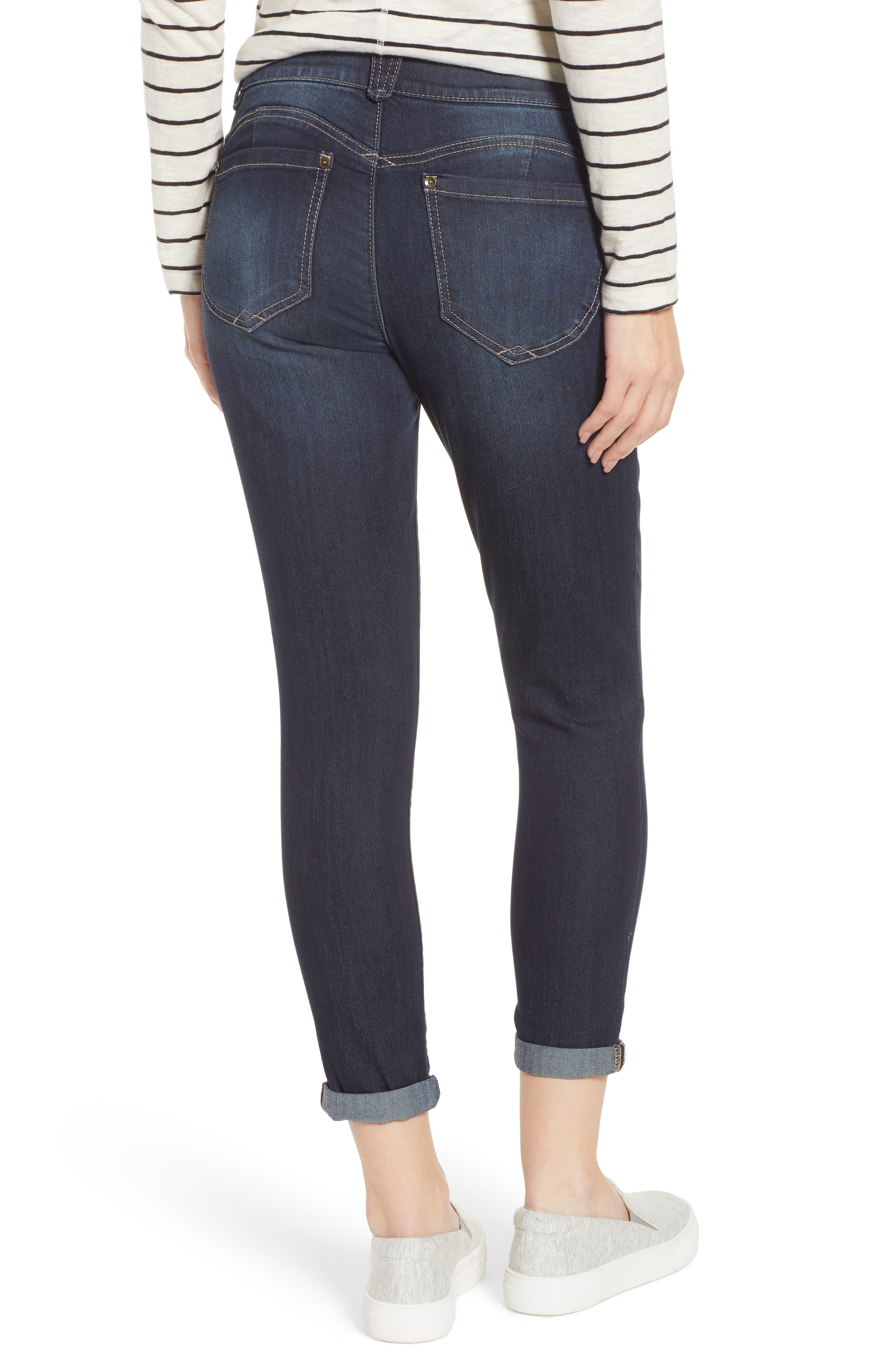 WIT & WISDOM, Ab-Solution Ankle Skimmer Jeans, Alternate thumbnail 2, color, INDIGO