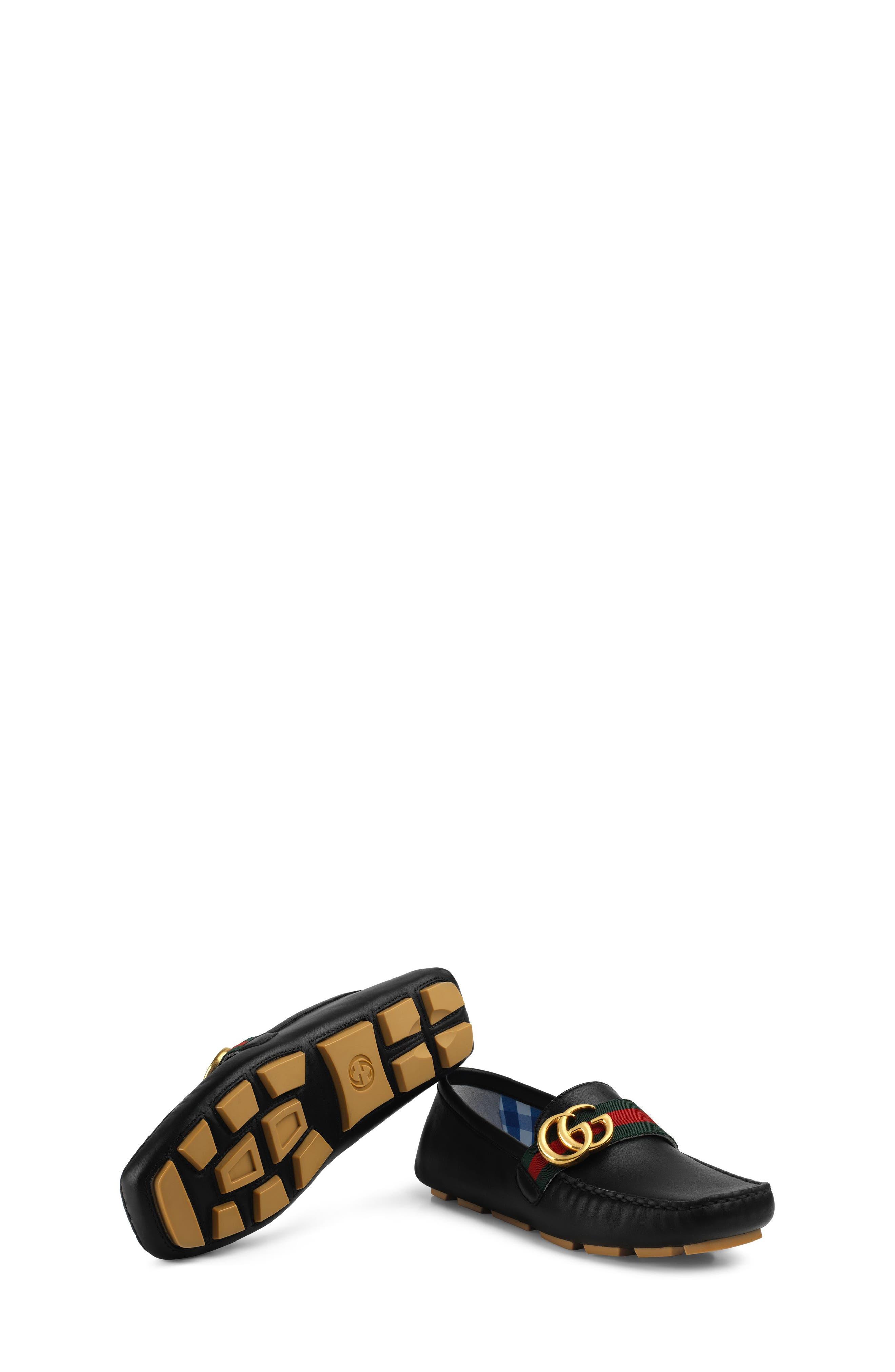 GUCCI, Noel Driving Loafer, Alternate thumbnail 6, color, BLACK