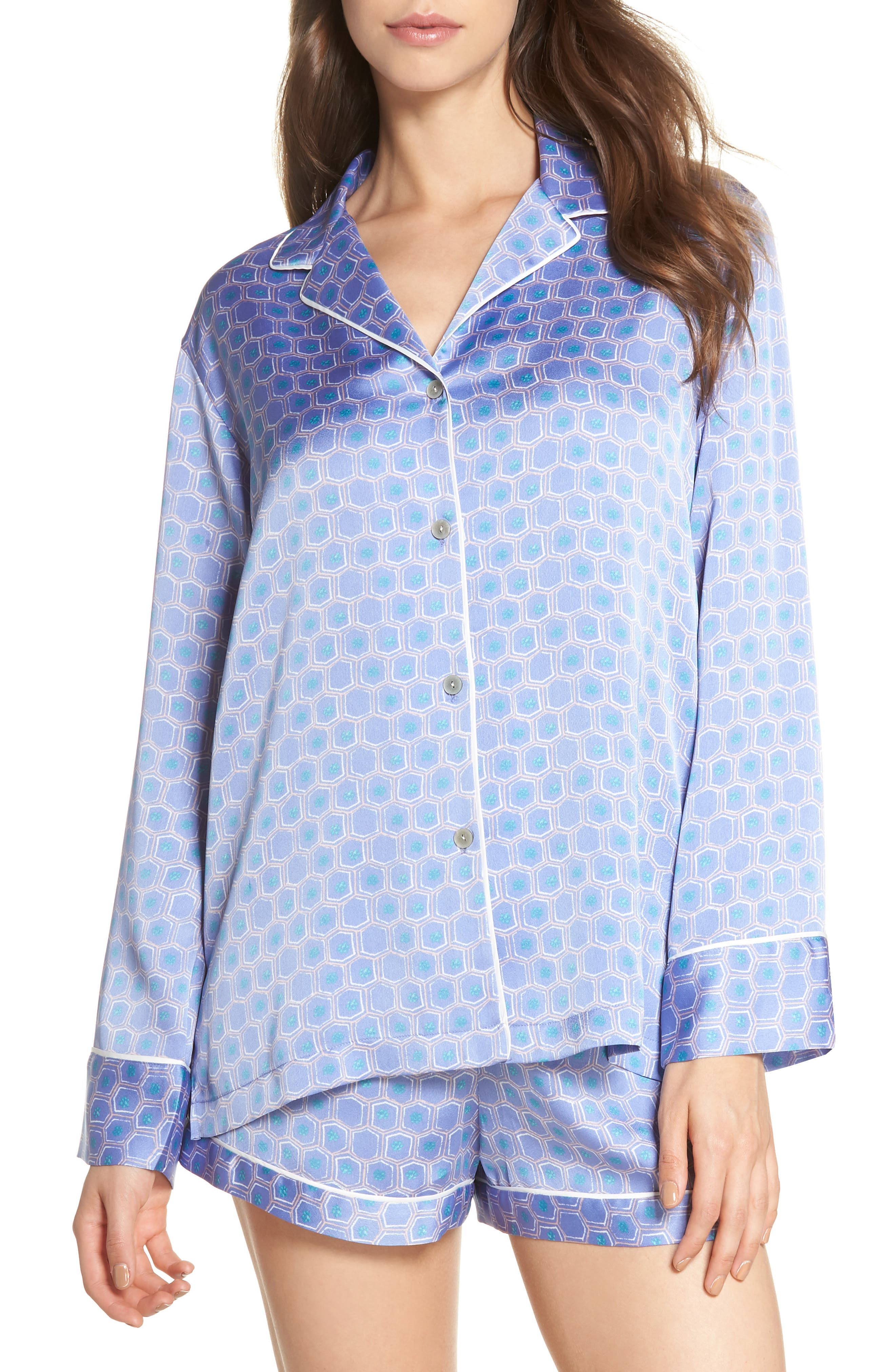 NATORI, Honeycomb Short Pajamas, Main thumbnail 1, color, WEDGEWOOD