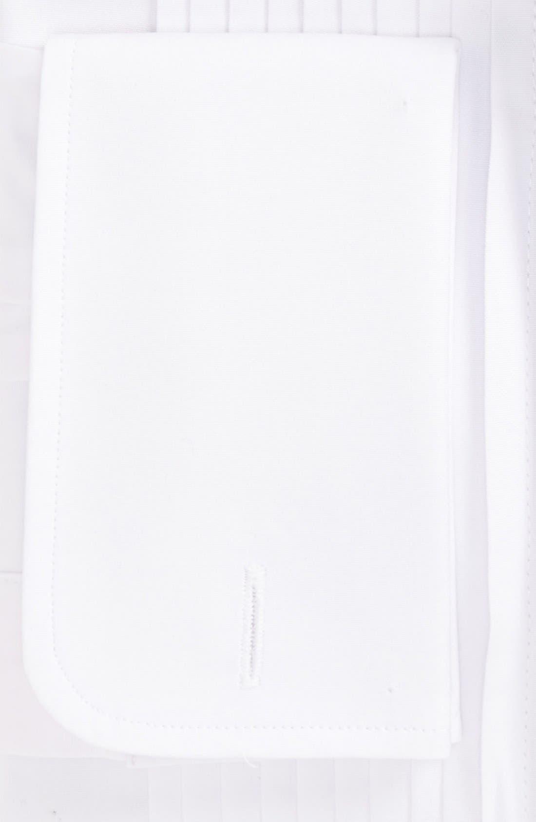 GITMAN, Regular Fit Pleated Dress Shirt, Alternate thumbnail 3, color, WHITE